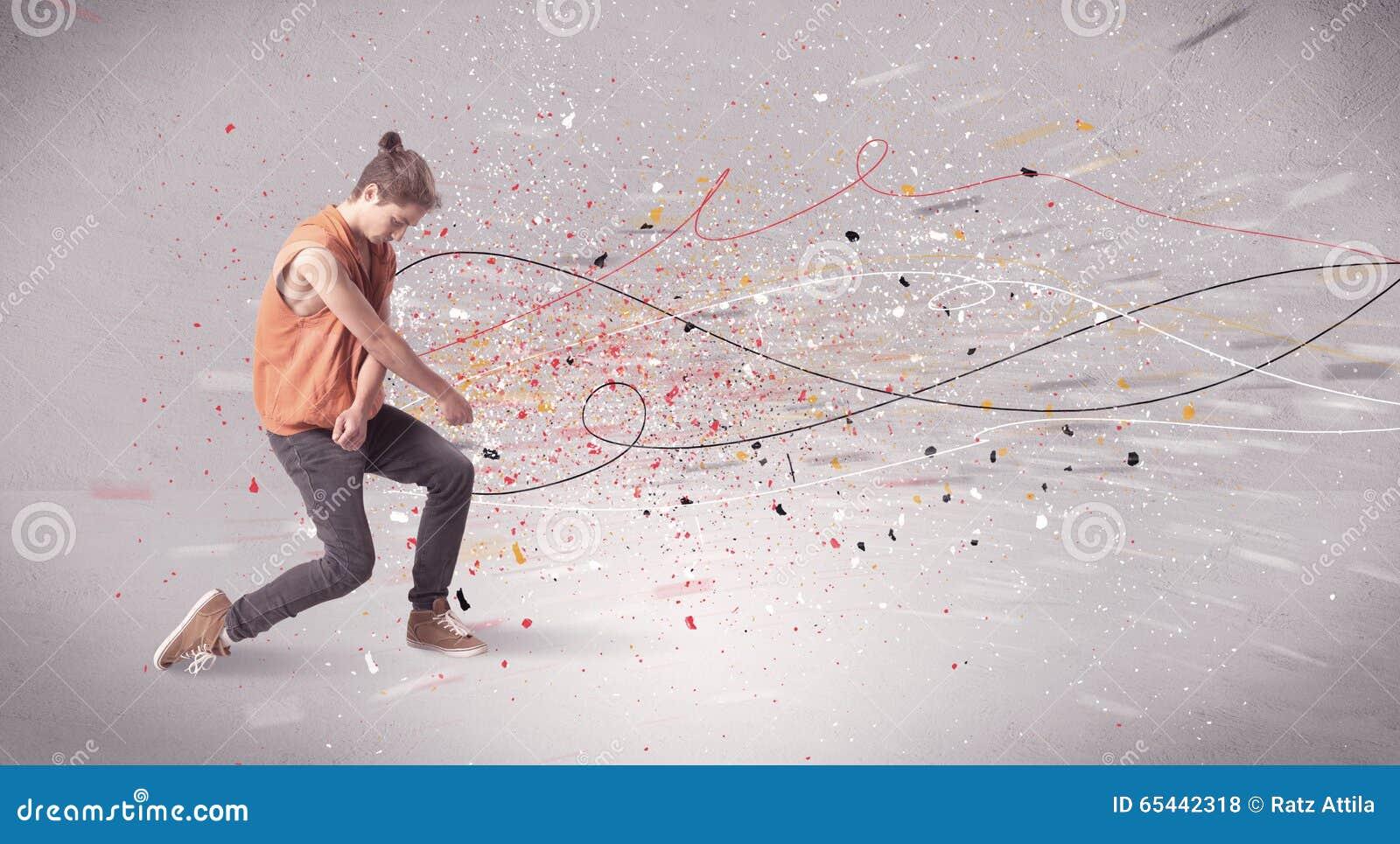 与线和泼溅物的都市跳舞