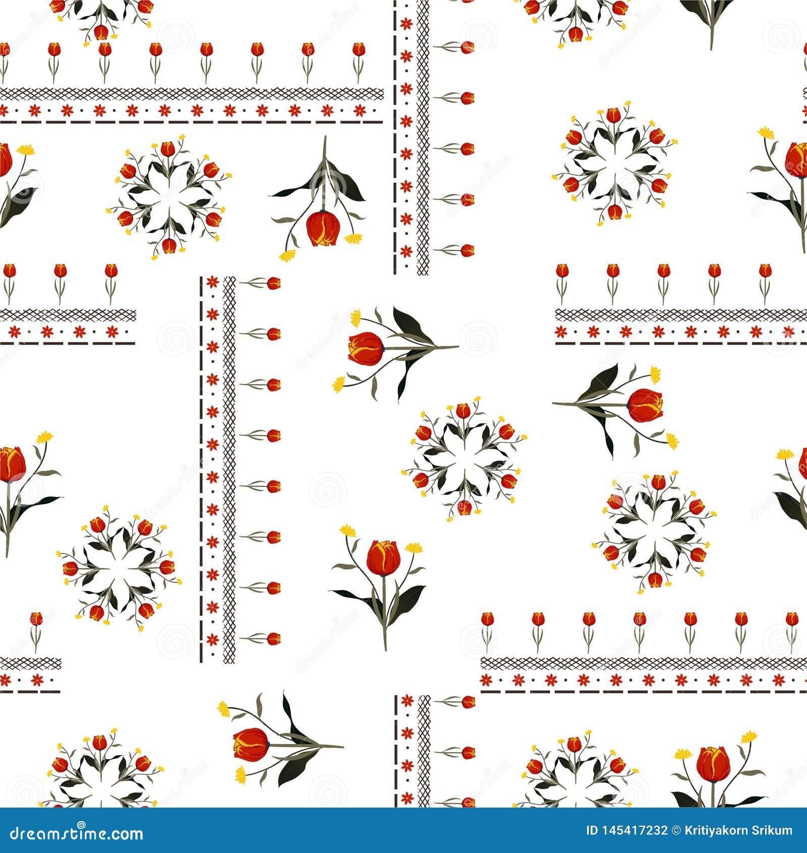 与线的美丽的红色郁金香花在漂泊时尚的围巾样式无缝的样式传染媒介设计,织品,网,墙纸和