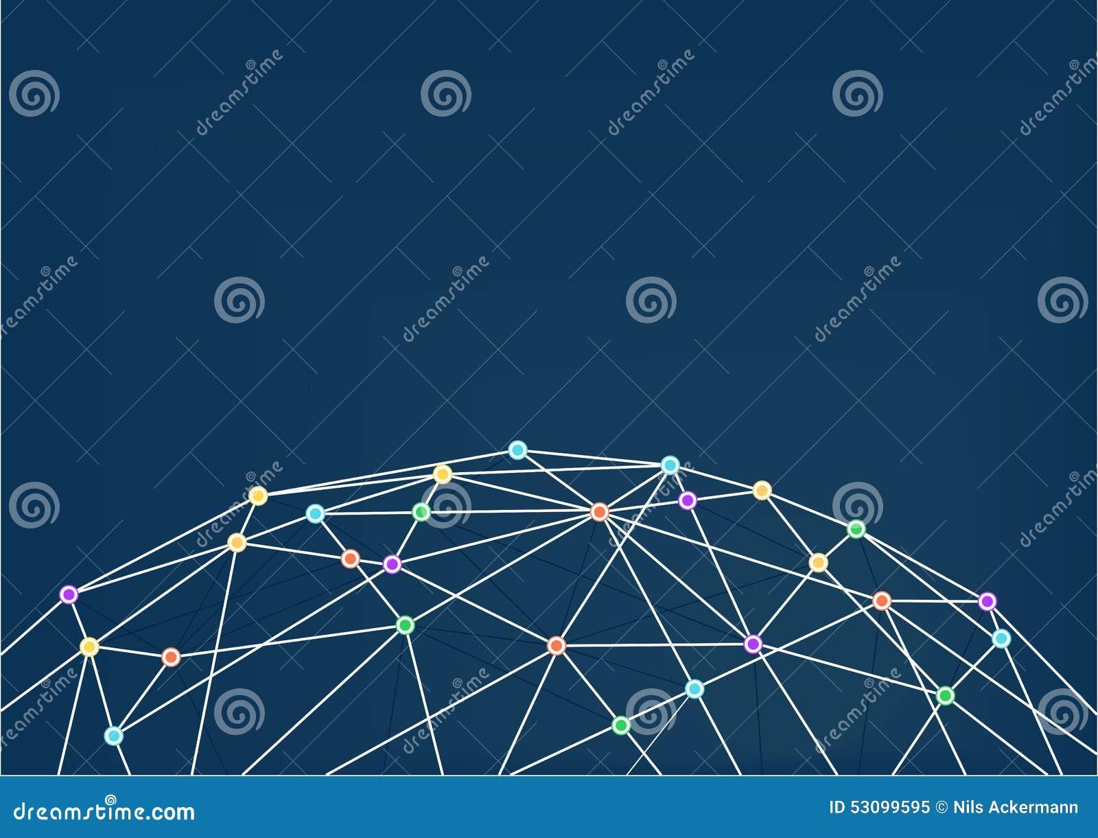 与线连接的万维网在五颜六色的交叉点之间 关闭世界栅格