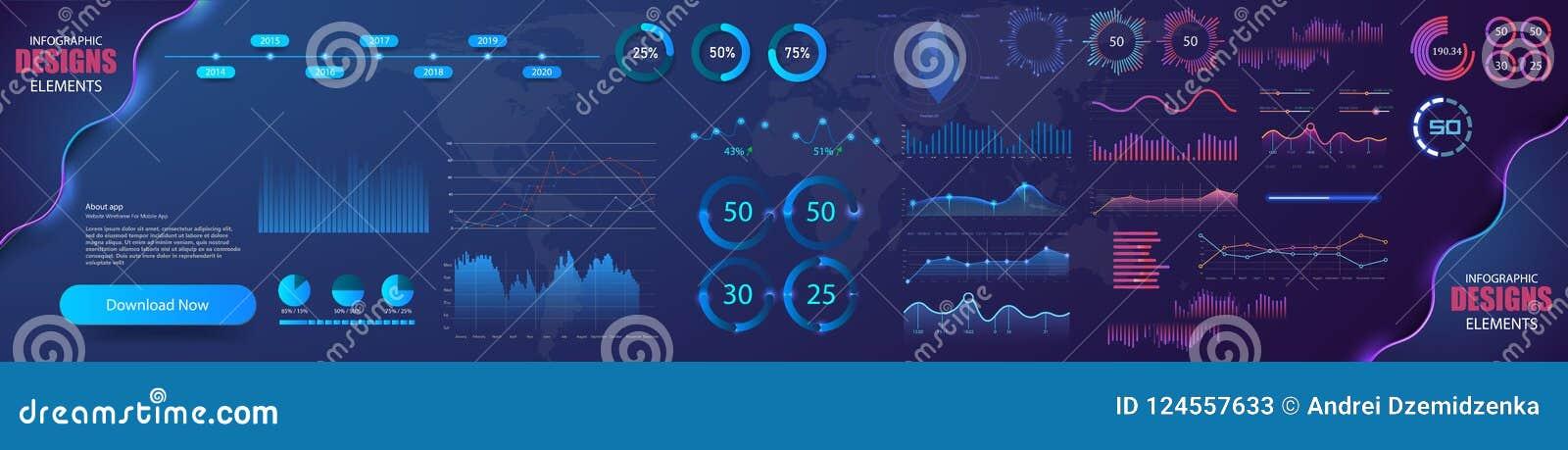 与统计图表和财务图的现代现代infographic传染媒介模板 图模板和图图表