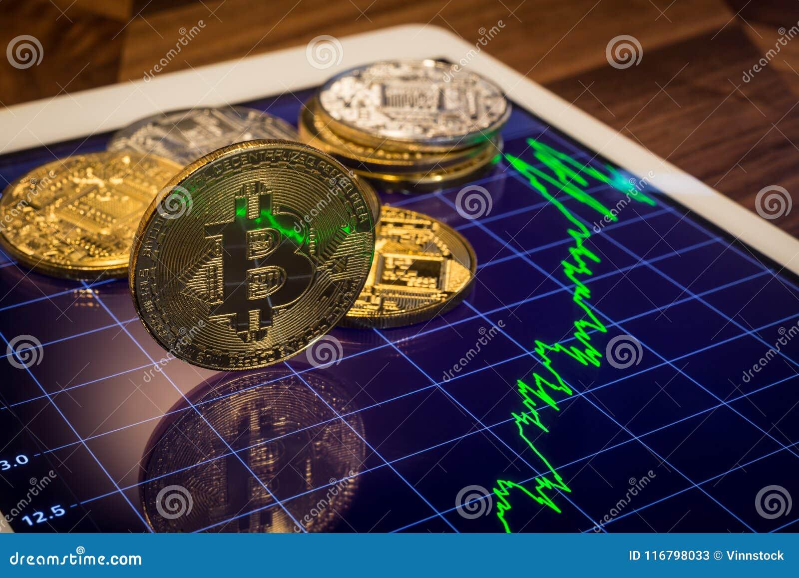 与绿色价格市场图表的Cryptocurrency Bitcoin