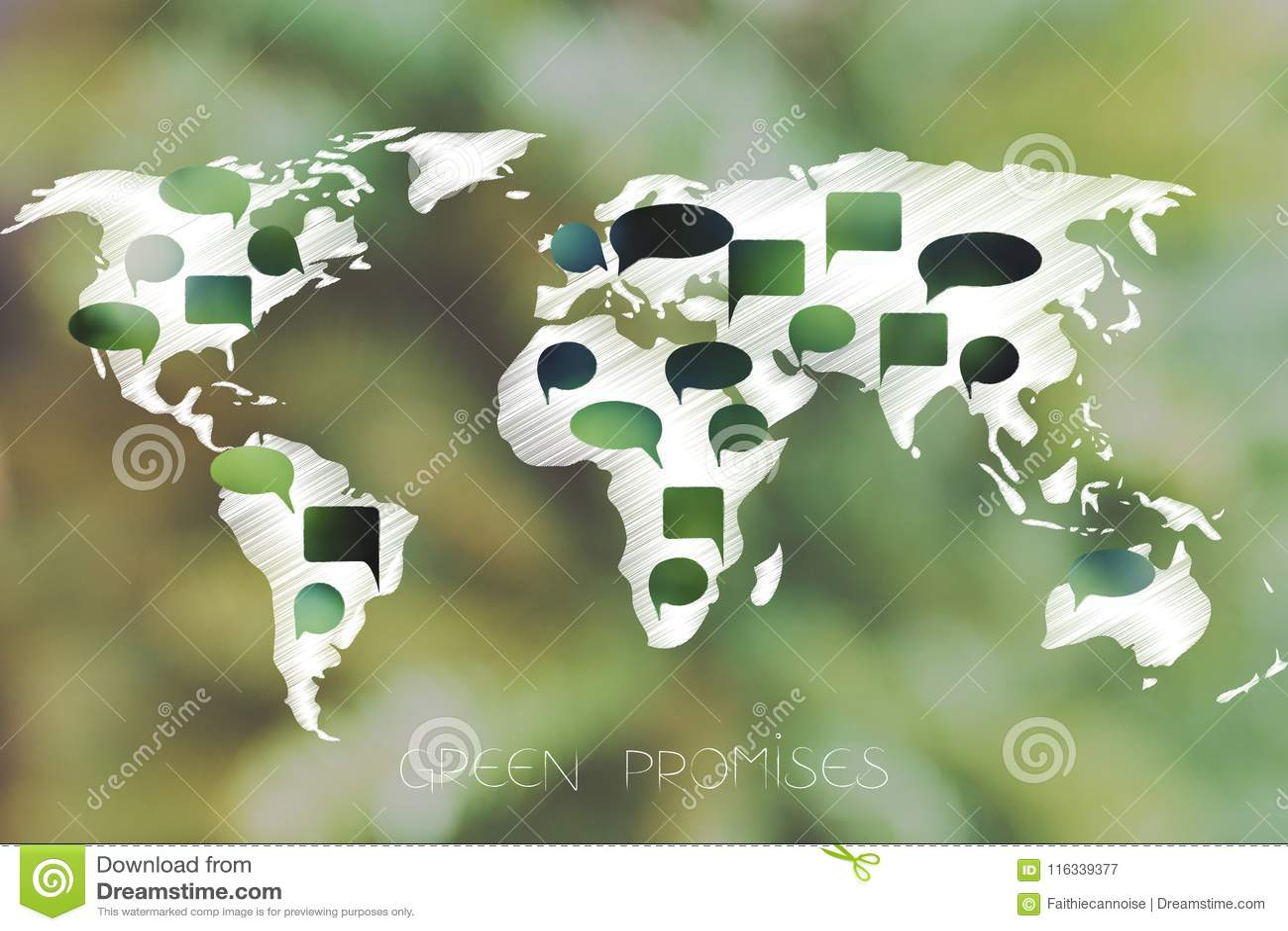 与绿色讲话的世界地图起泡代表环境