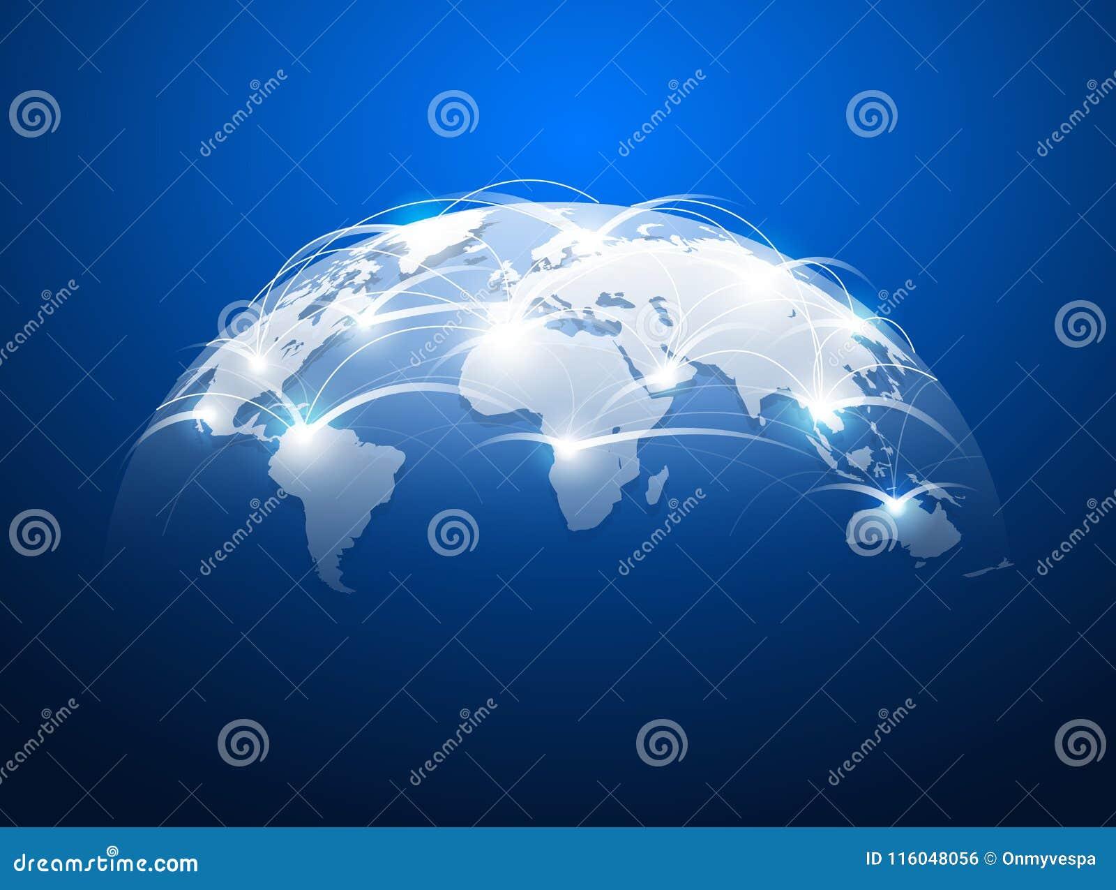 与网络互联网,全球性连接概念的抽象世界地图