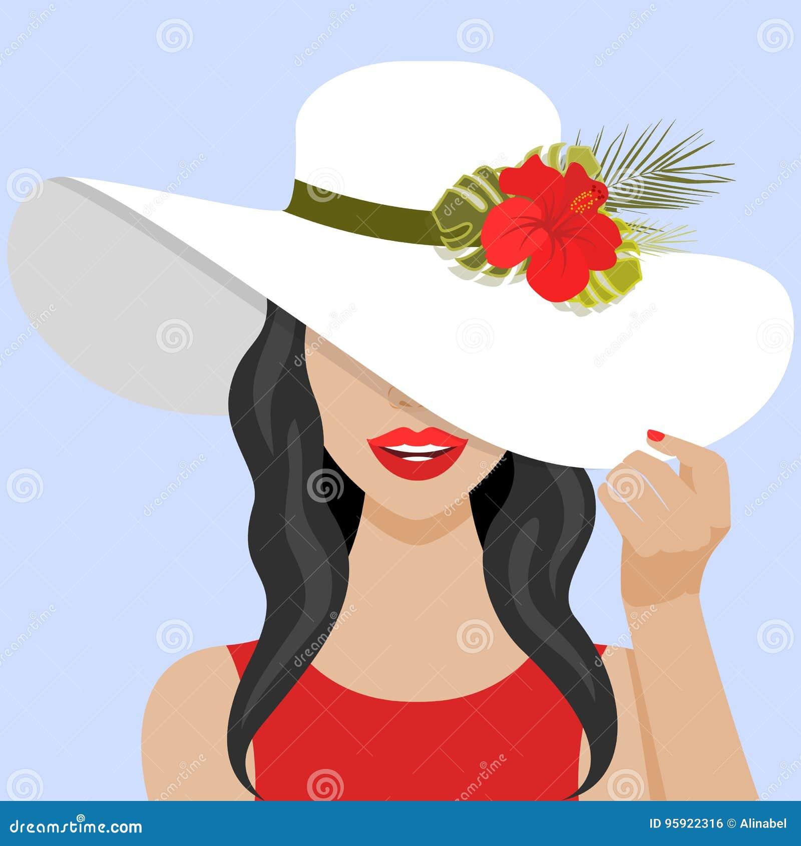 与美丽的妇女的传染媒介例证有帽子的