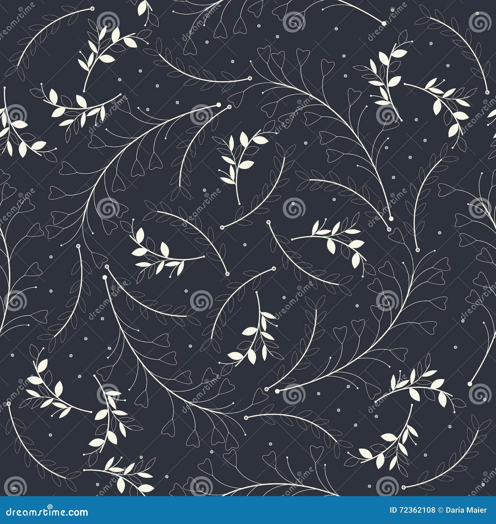 与美丽的白色植物剪影的无缝的样式