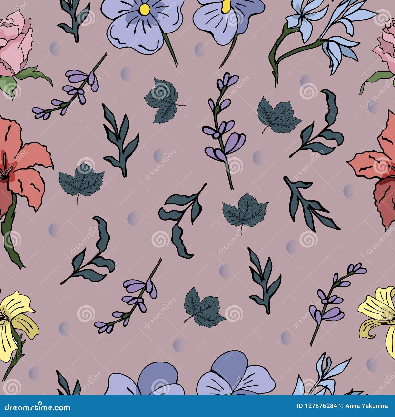 与美丽的花的时髦无缝的传染媒介样式您的设计的