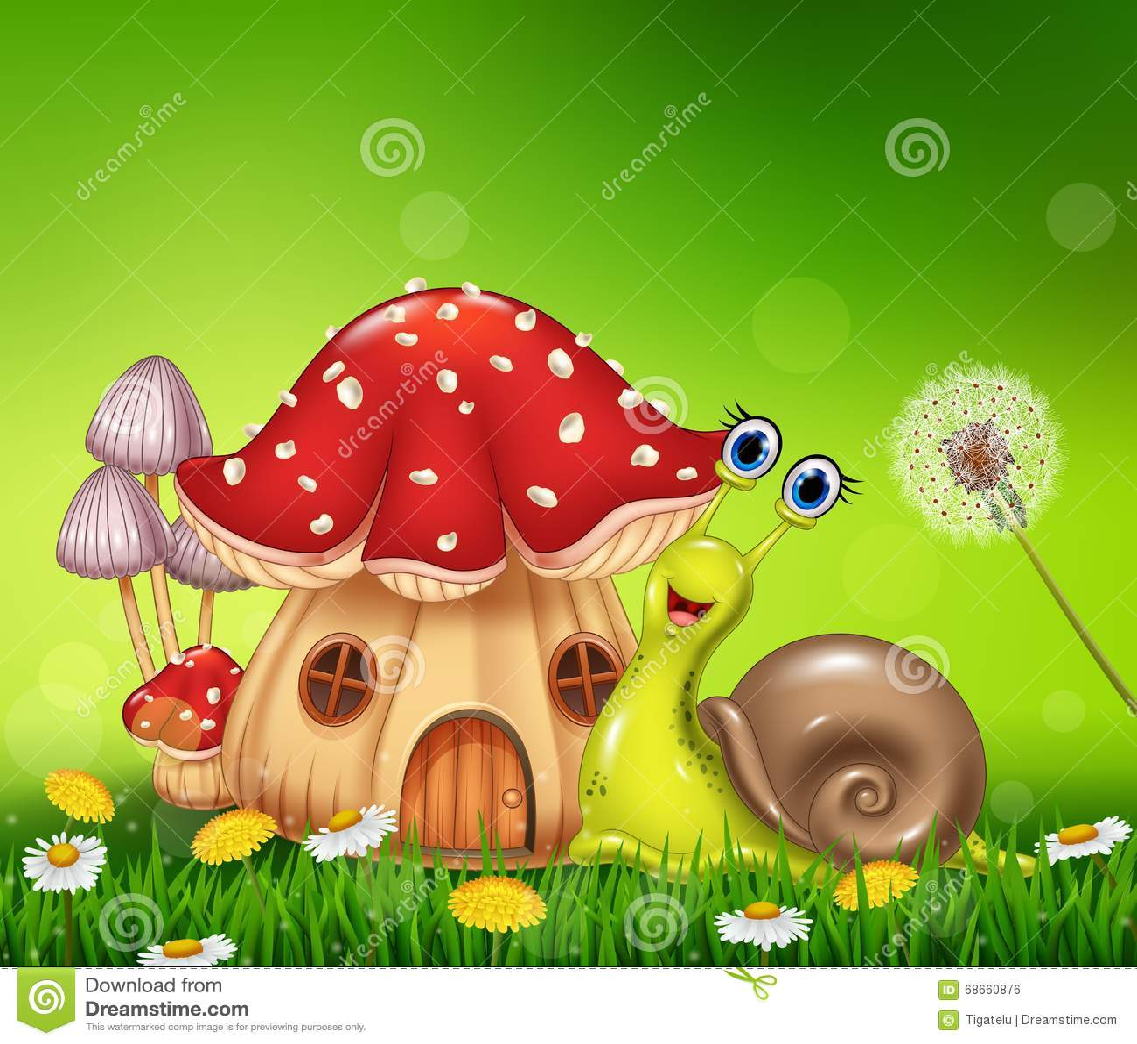 与美丽的蘑菇房子的愉快的蜗牛