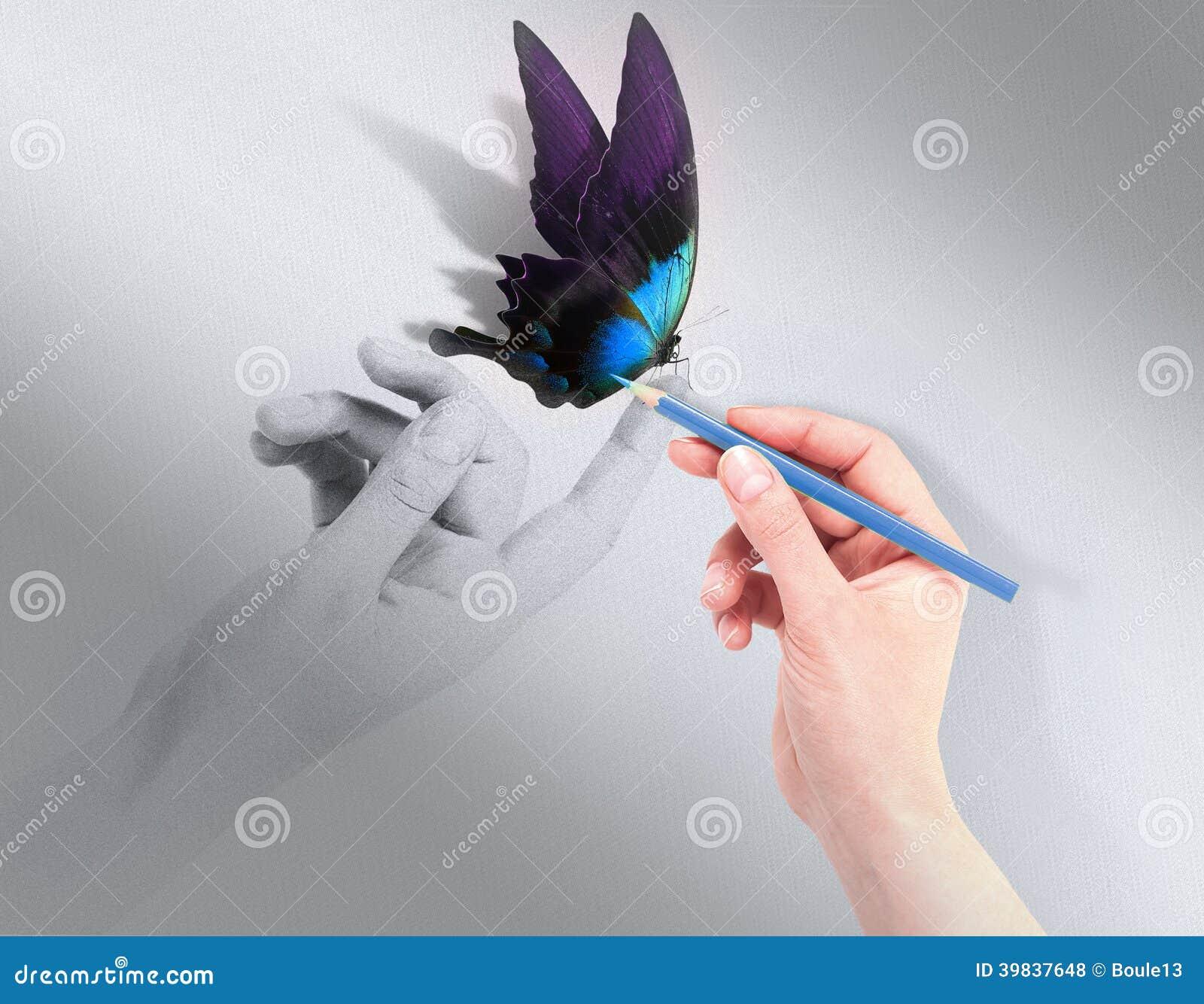与美丽的蝴蝶的启发概念