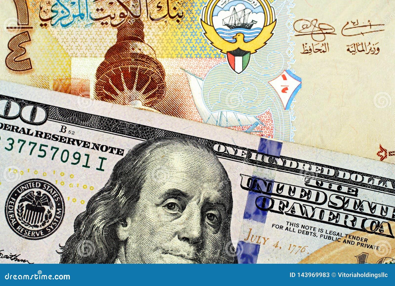 与美国一百元钞票关闭的一五颜六色的科威特四分之一丁那