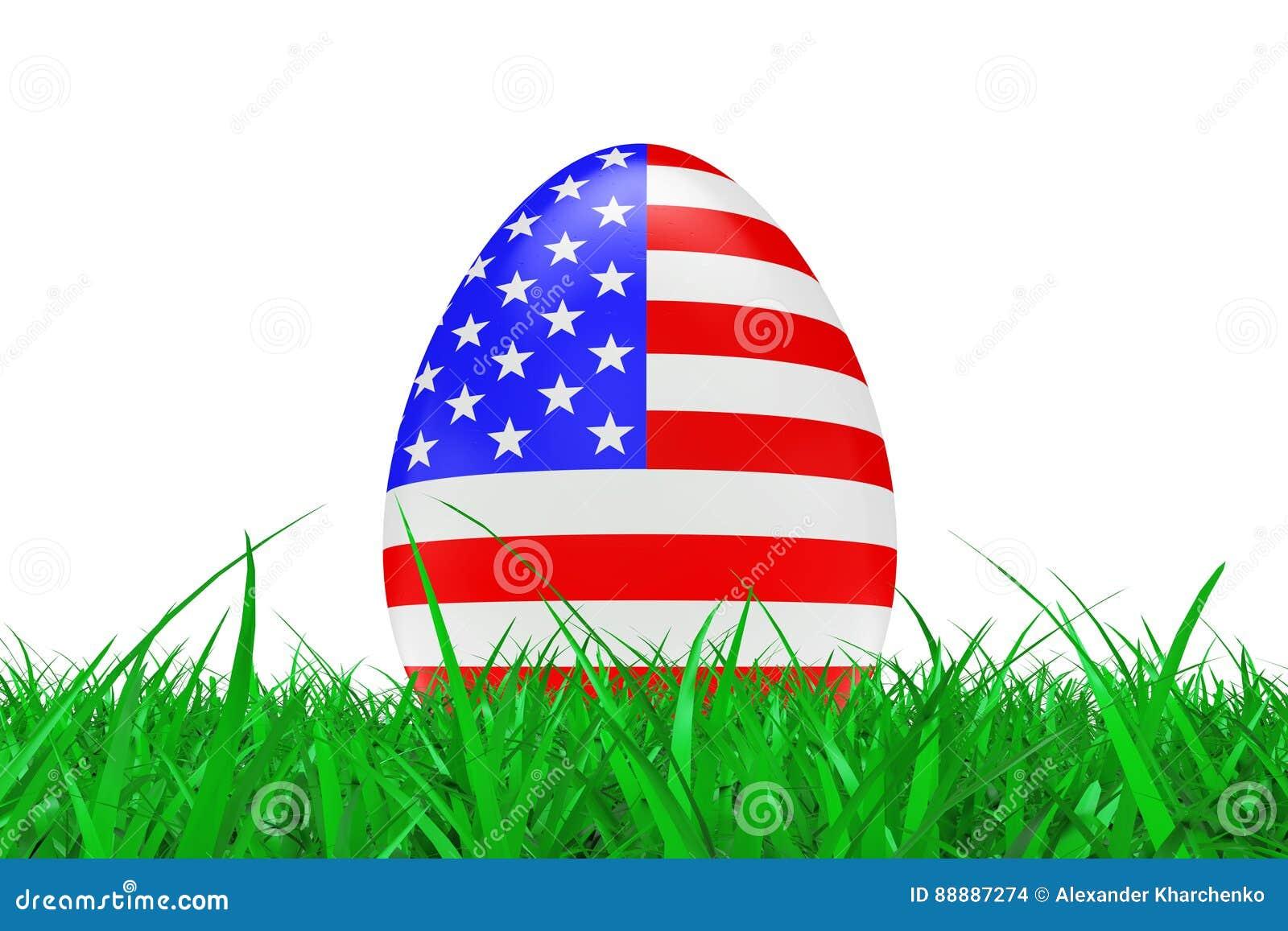 与美国的旗子的复活节彩蛋绿草的 3d翻译