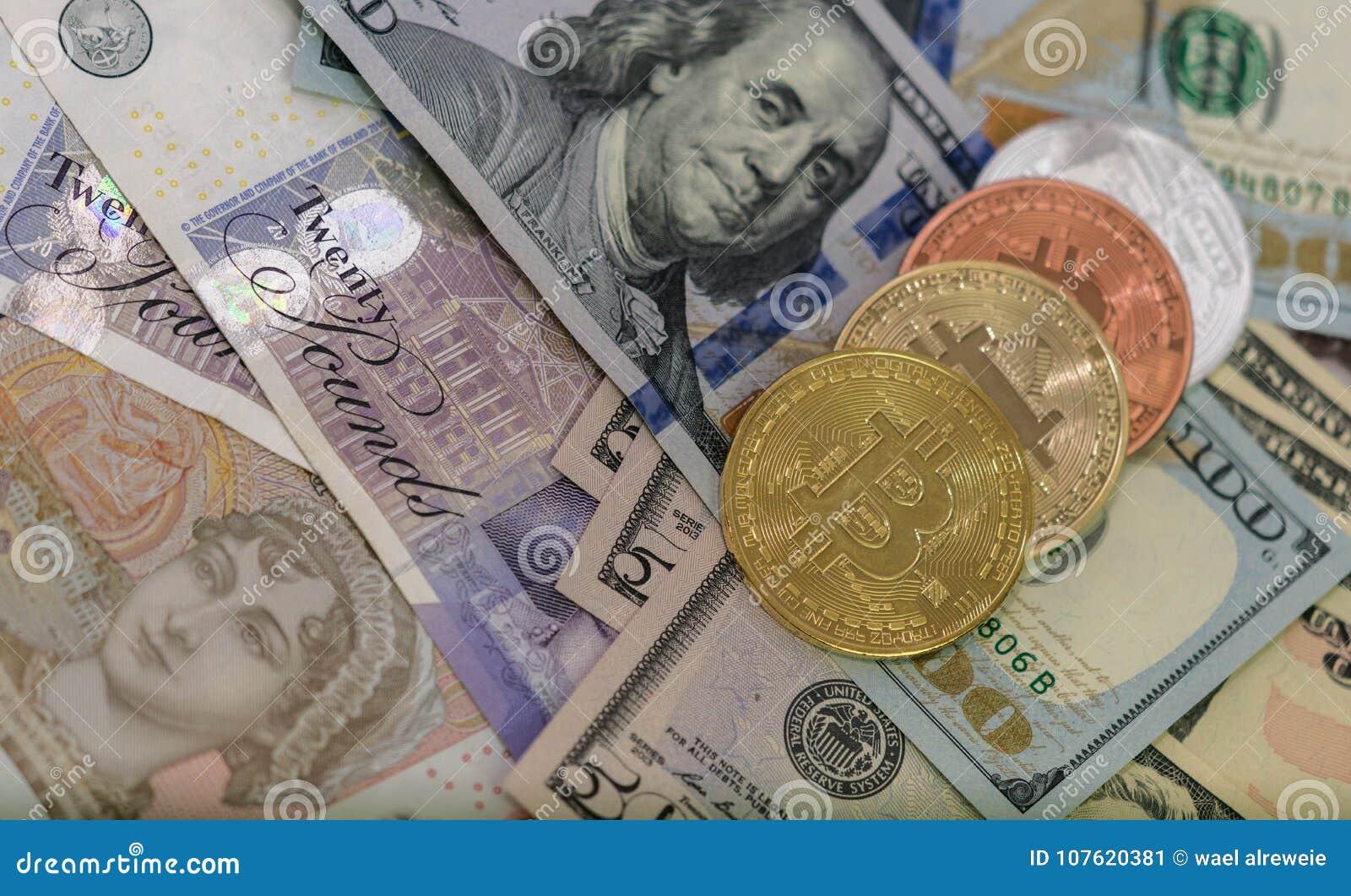 与美国钞票和英国钞票, 20的Bitcoins英镑, 10英镑笔记 金黄bitcoin,银