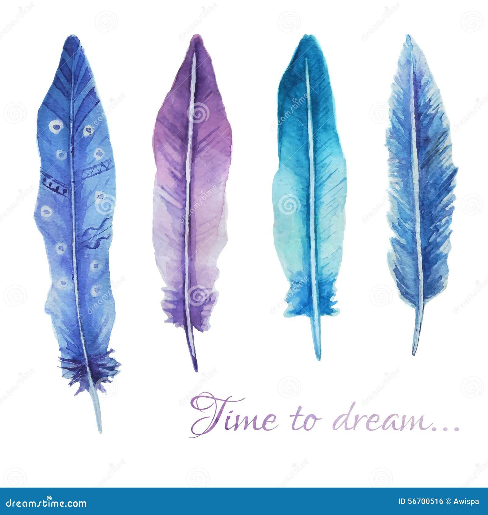 与羽毛和浪漫剧本的水彩印刷品