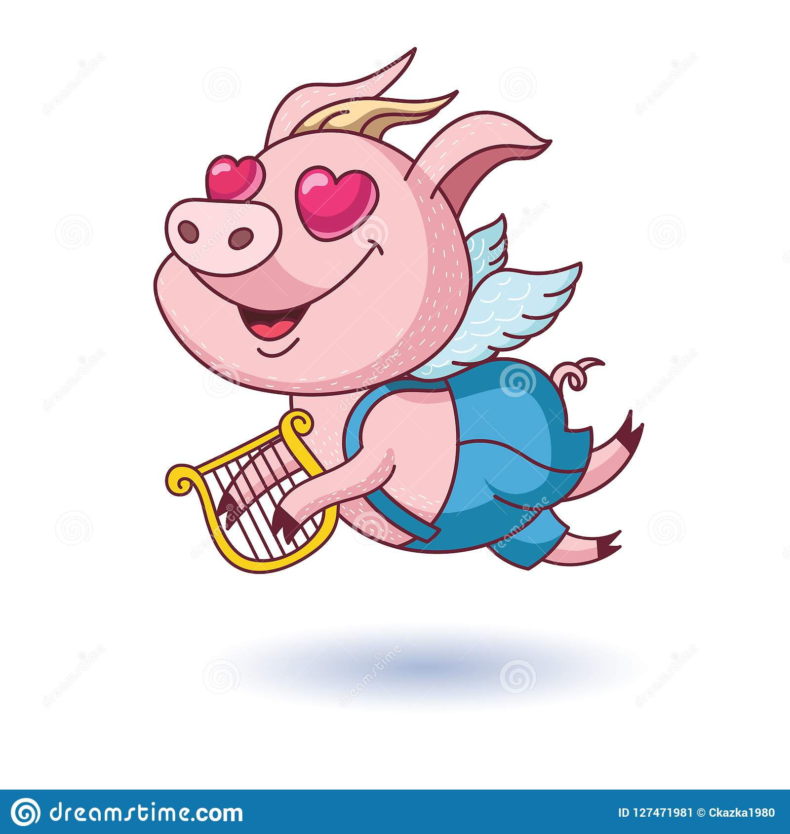 与翼和竖琴的愉快的猪 在爱的猪