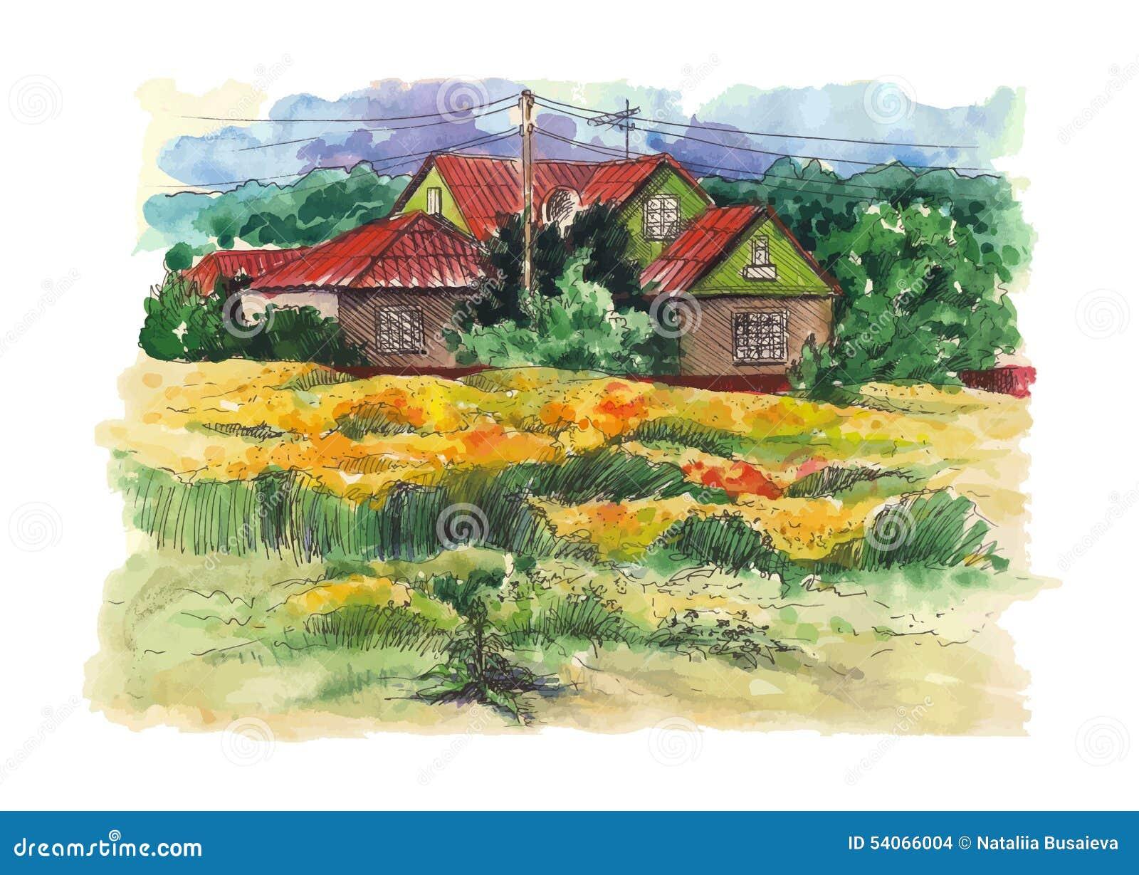 与老农舍的农村水彩风景