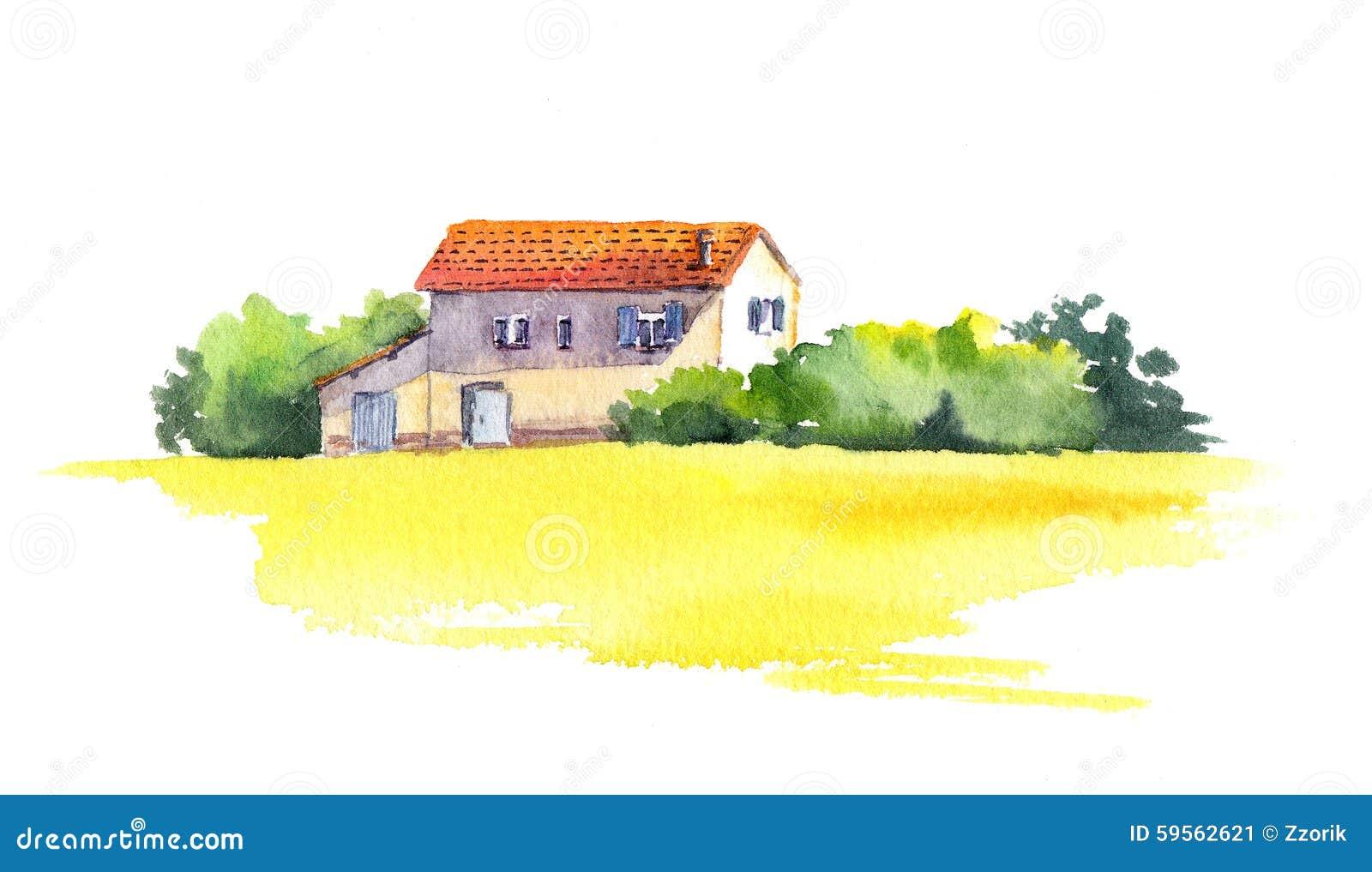 与老房子和黄色领域,水彩的农村风景
