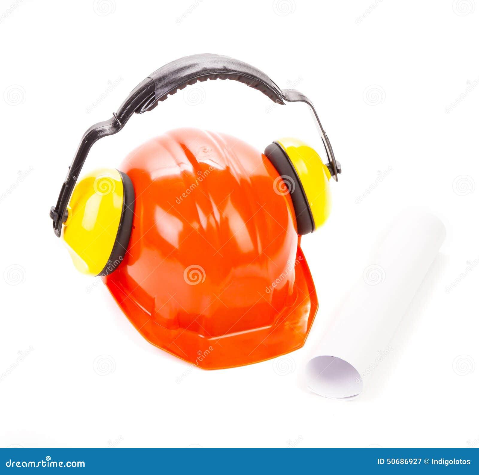 Download 与耳机的红色安全帽 库存图片. 图片 包括有 塑料, 健康, 耳机, 仔细, 红色, 衣物, 盔甲, 绿色 - 50686927
