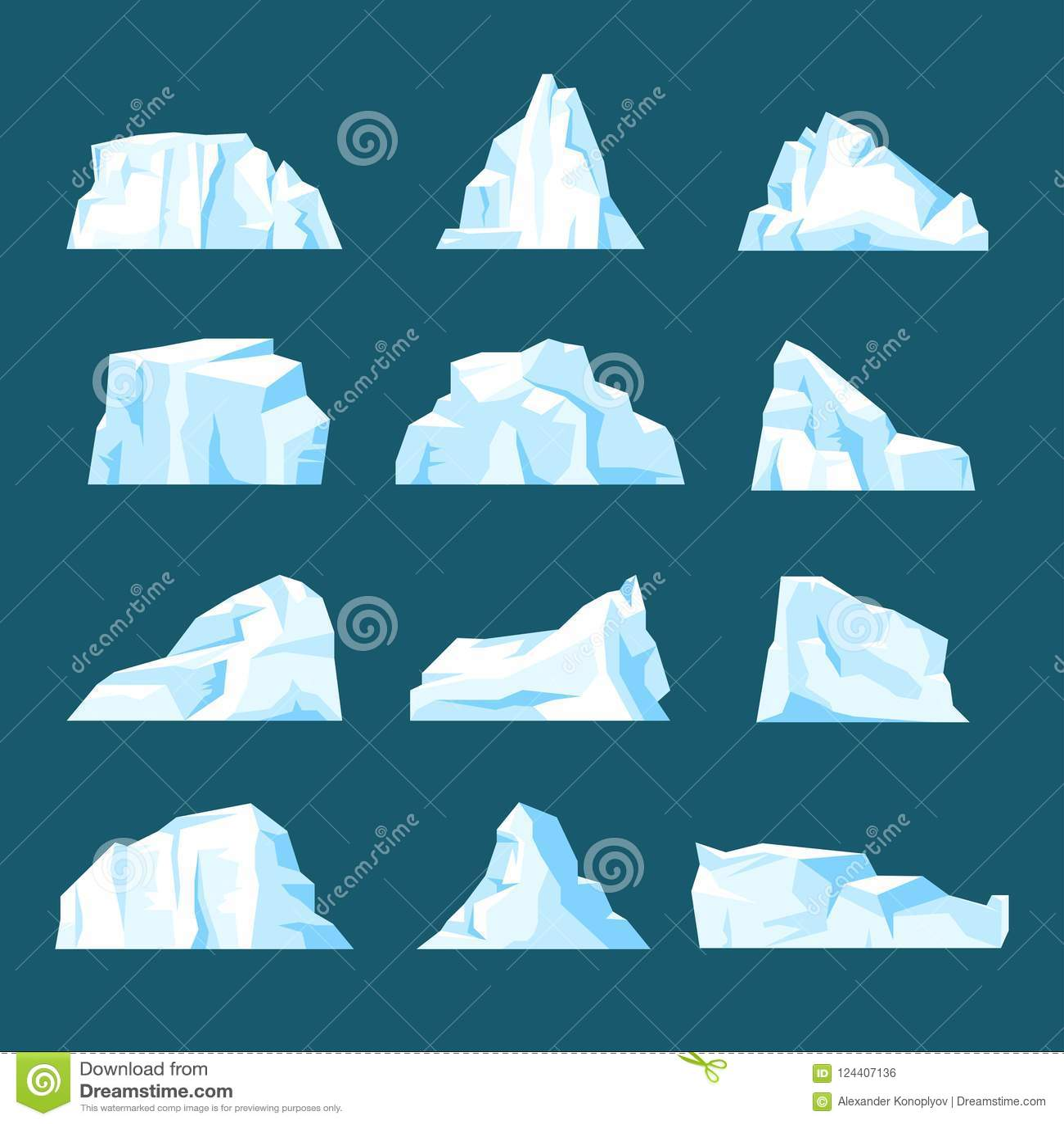 与背景隔绝的浮动动画片冰山集合