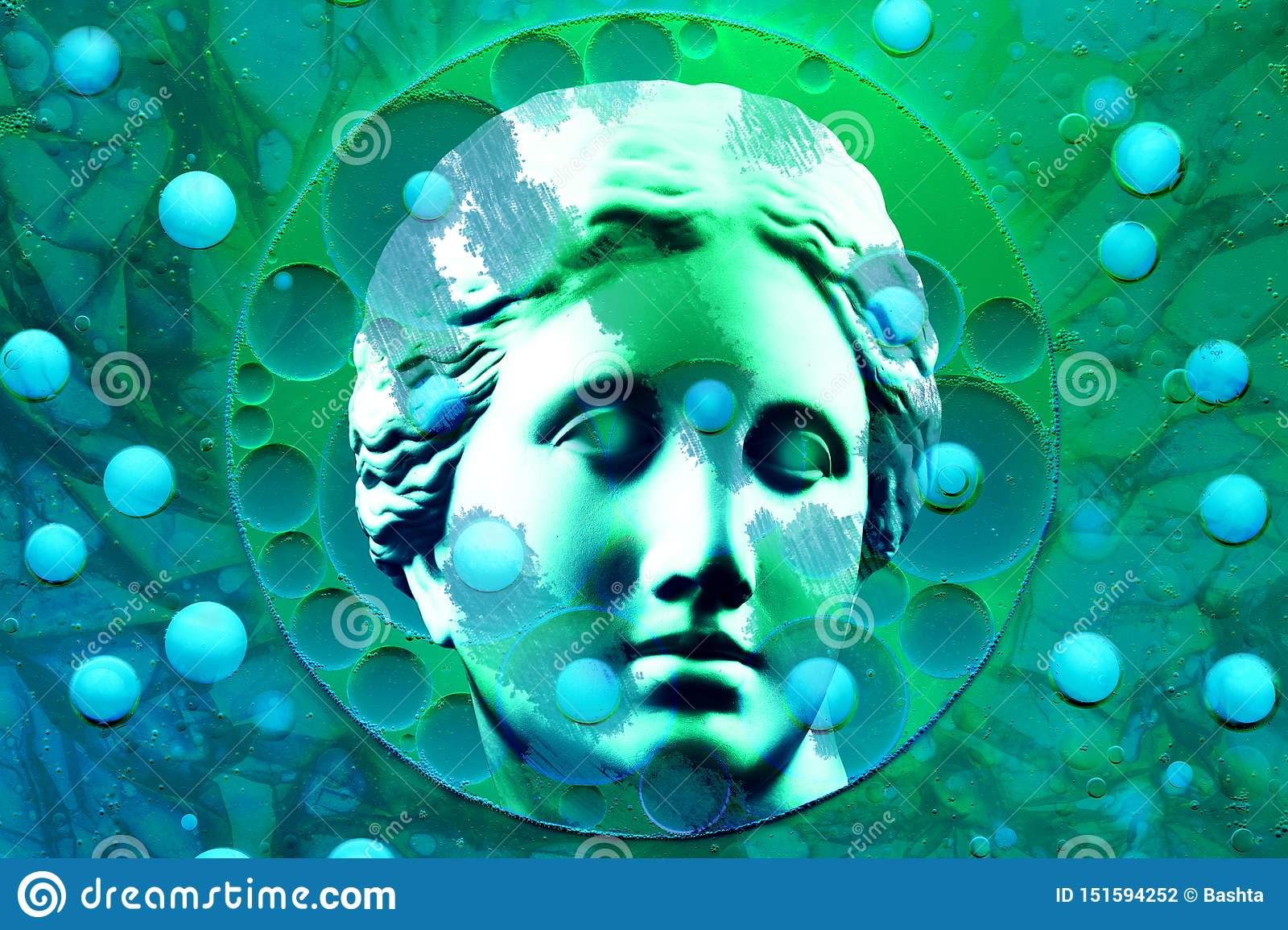 与胸象金星古老雕象的现代概念性艺术海报  拼贴画当代艺术 STD题材