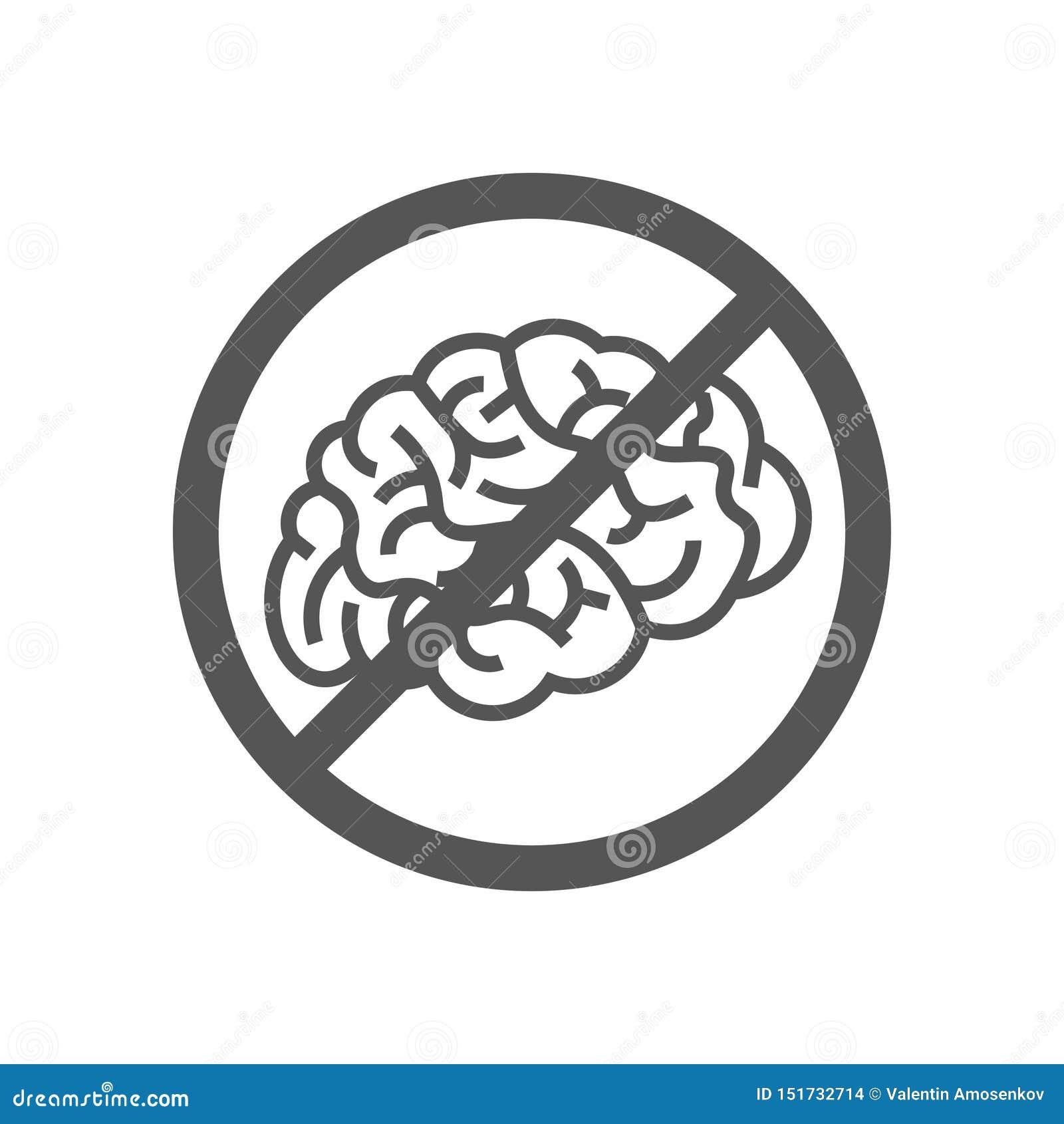 与脑子的标志,概念否认想法 脑子没有认为停滞消沉禁令 10 eps