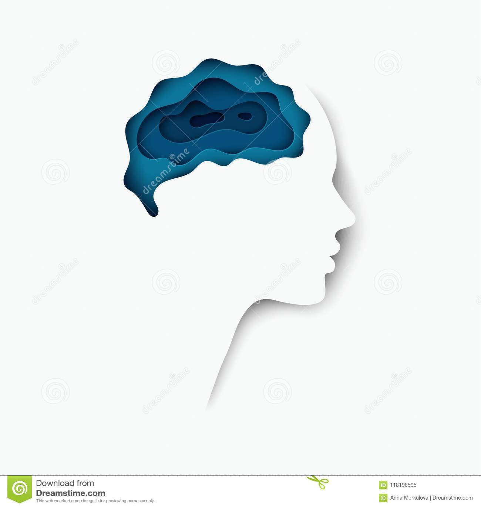 与脑子的现代层状被删去的色纸人的外形