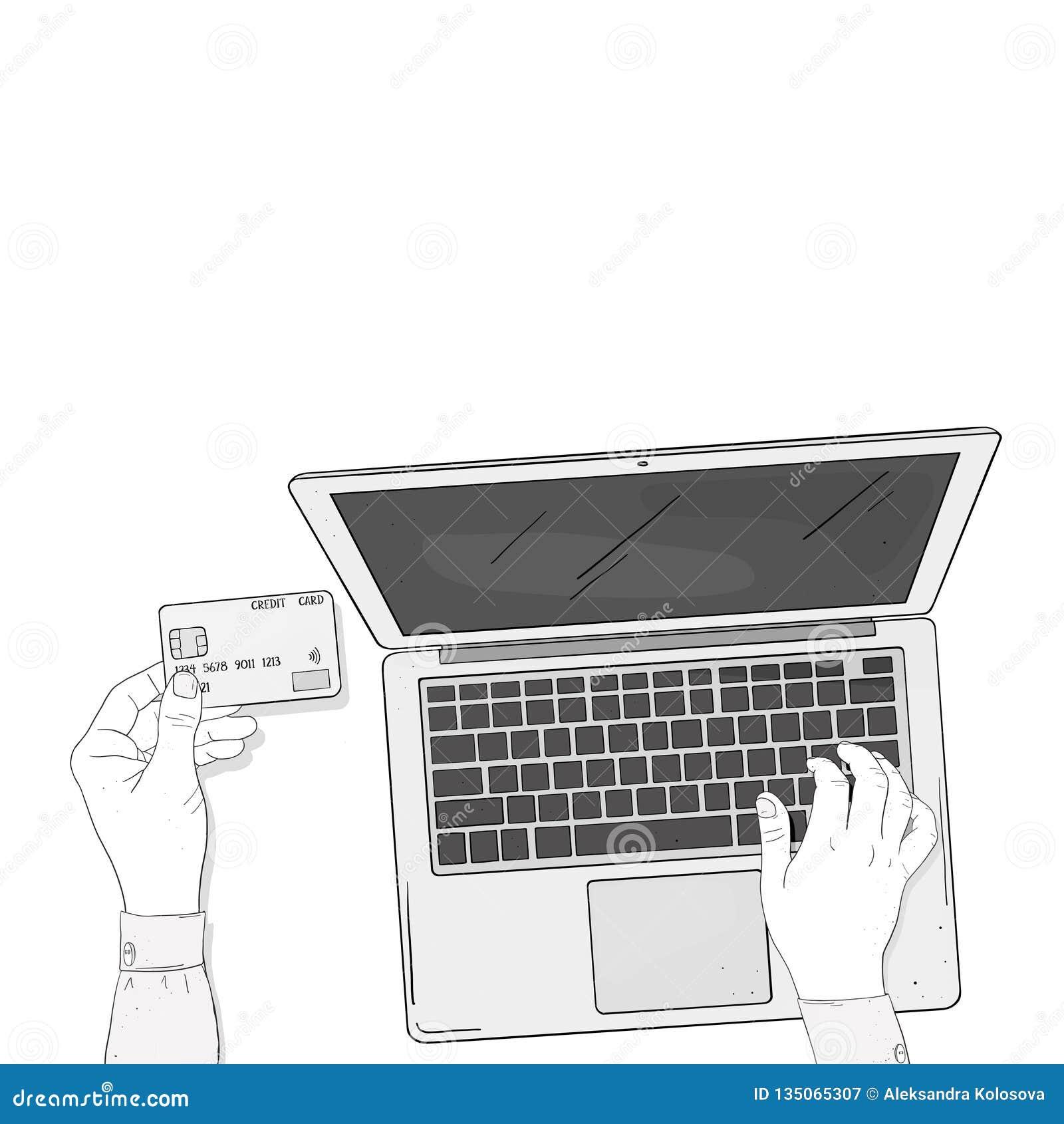 与膝上型计算机和信用卡的网络商店概念 妇女的手在网上支付购买 由信用卡的付款 的treadled