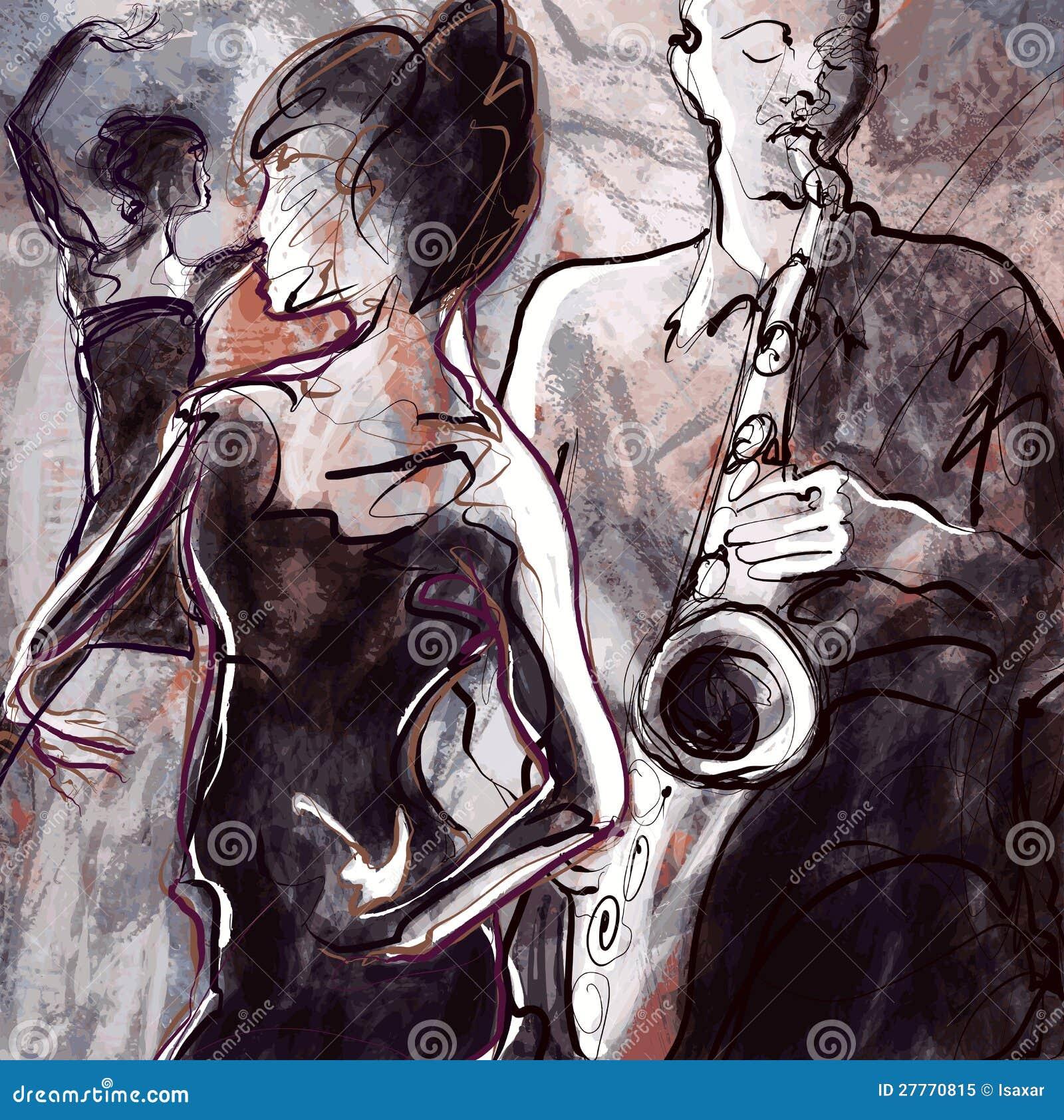 与舞蹈演员的爵士乐队