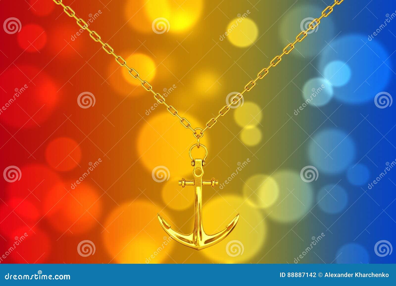 与船锚的金黄项链 3d翻译
