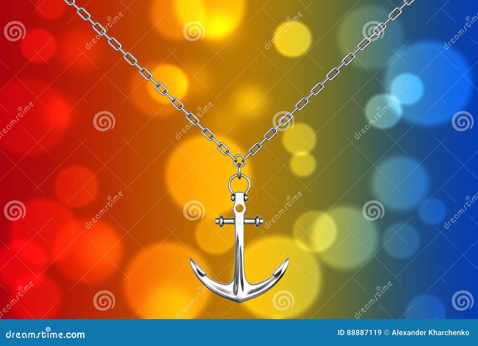 与船锚的银色项链 3d翻译