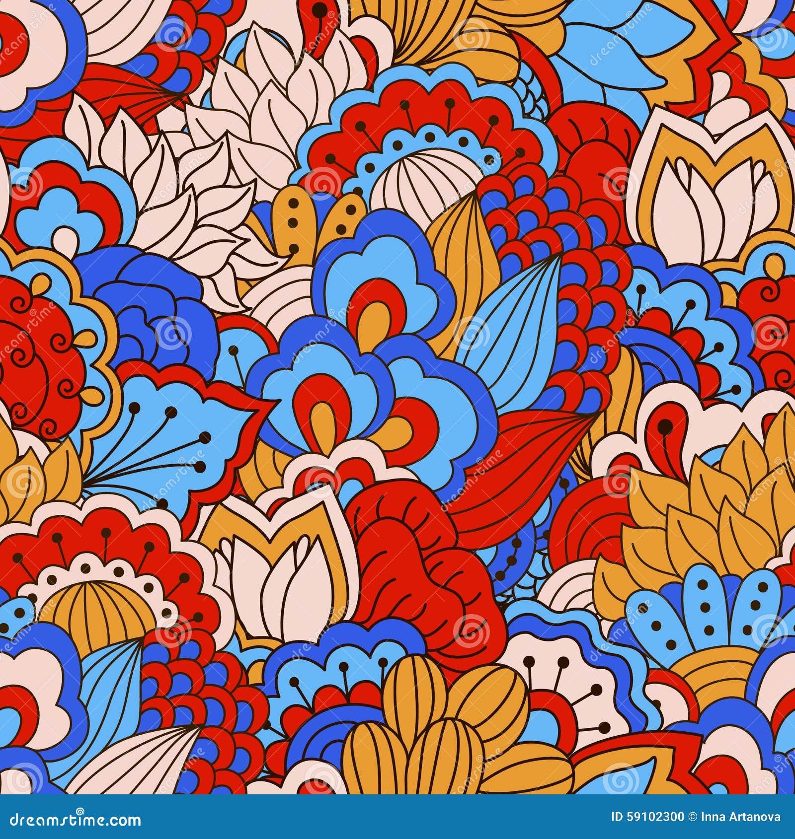 与花卉元素的手拉的无缝的样式