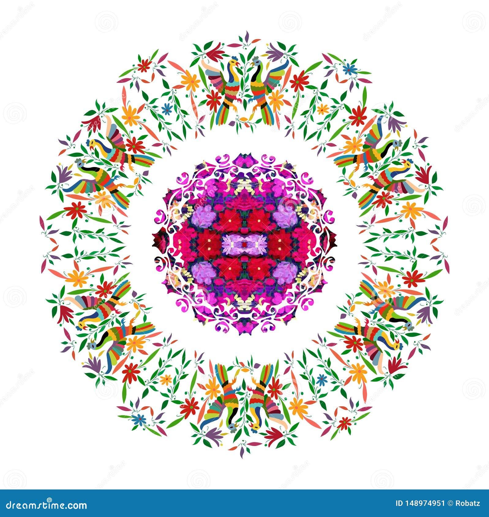 与花卉刺绣和孔雀手工制造密林的动物的种族墨西哥挂毯 天真印刷品民间装饰 拉丁语,西班牙语,