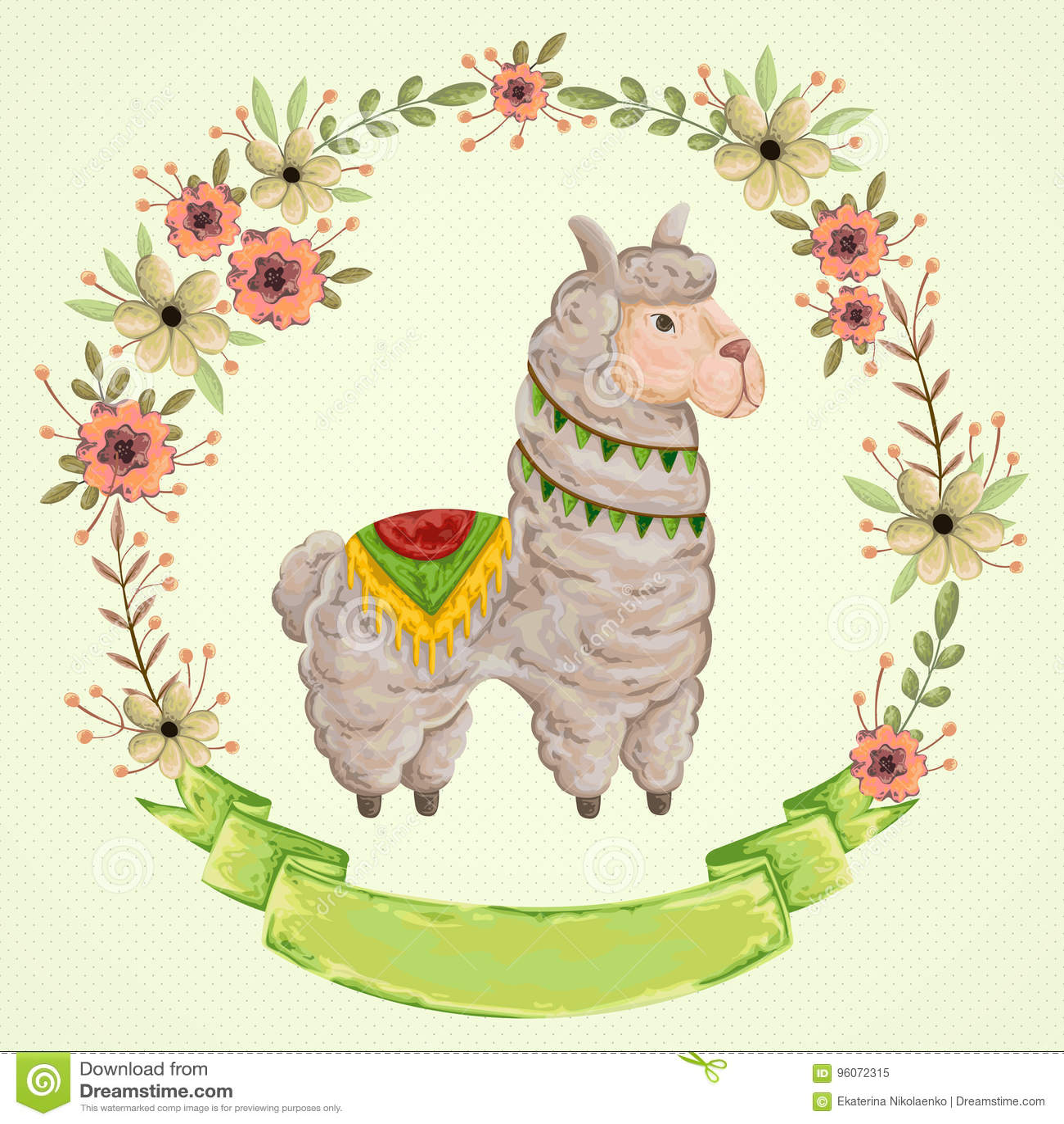 与花卉花圈的喇嘛动物在水彩样式 背景漫画人物厚颜无耻的逗人喜爱的狗愉快的题头查出微笑白色