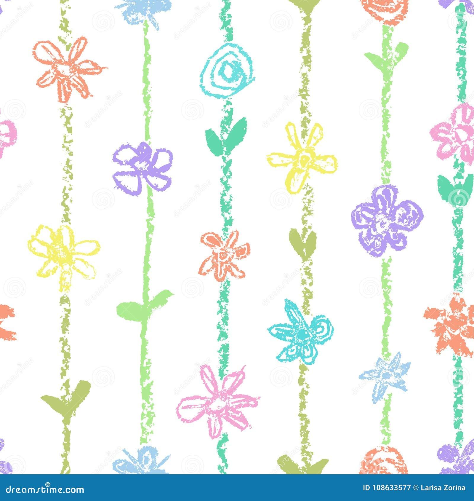 与花和冲程条纹的淡色无缝的样式