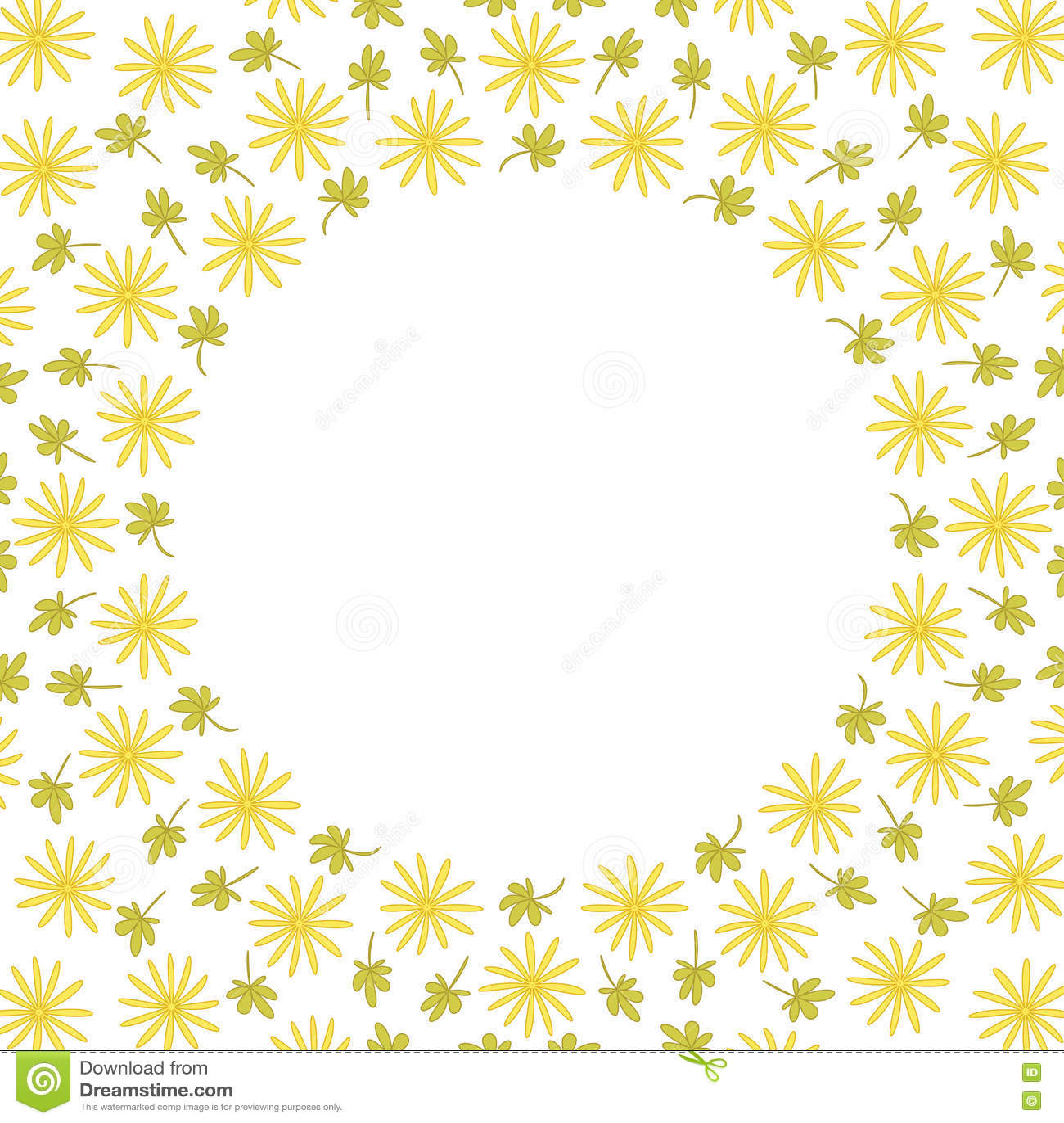 与花和叶子的逗人喜爱的背景圈子边界框架