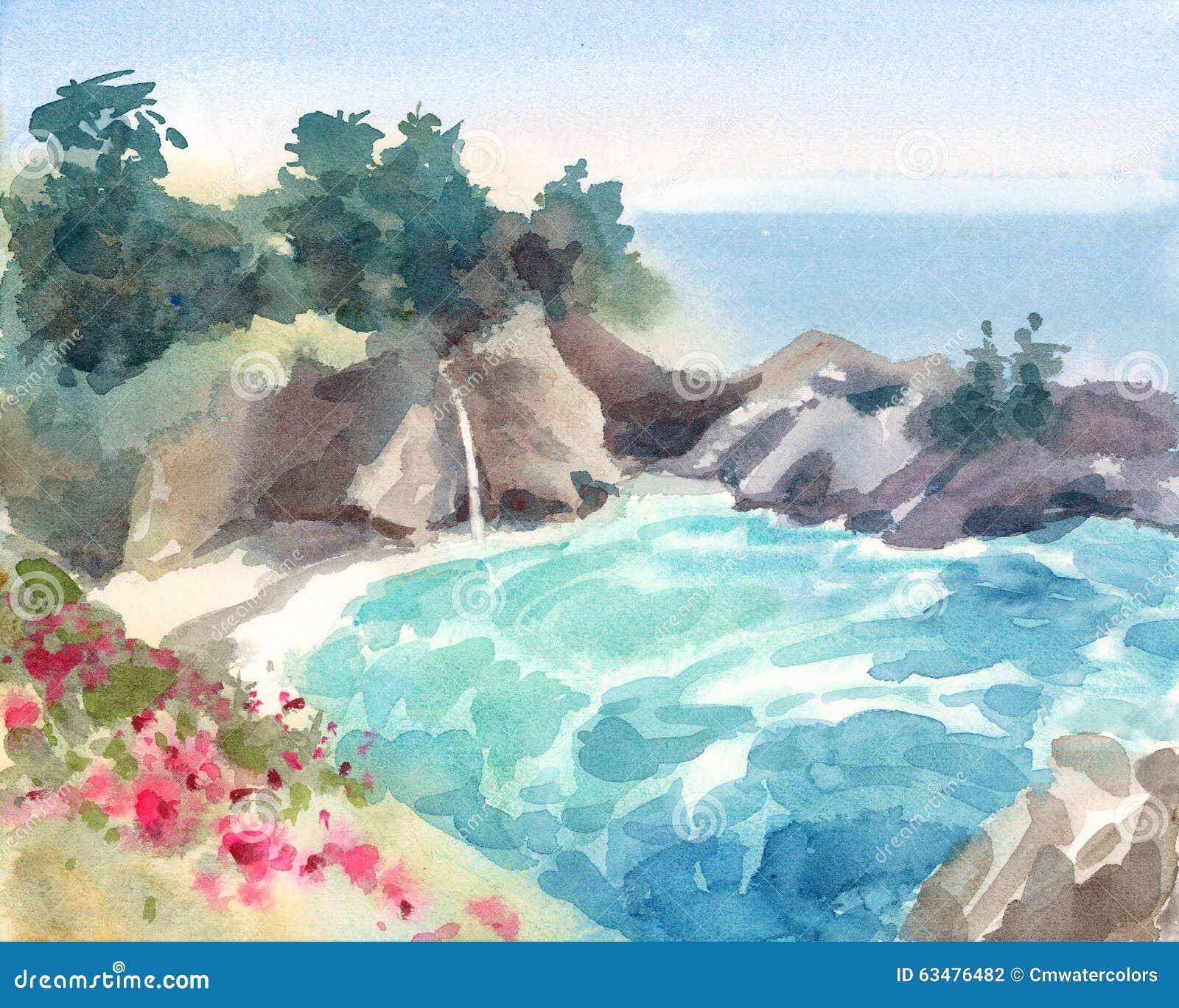与花和瀑布水彩手画自然的例证的海景