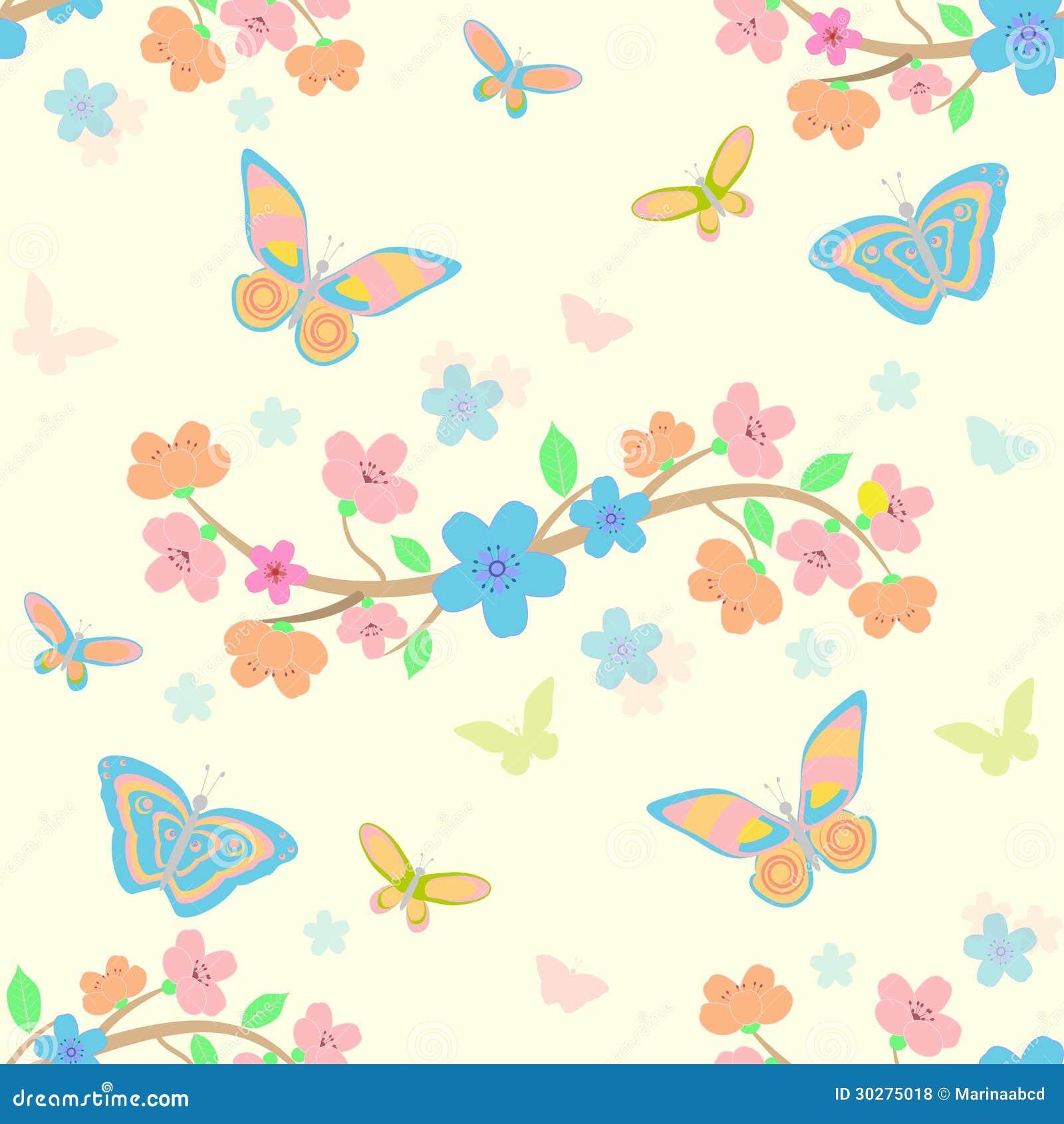 与花和蝴蝶的背景