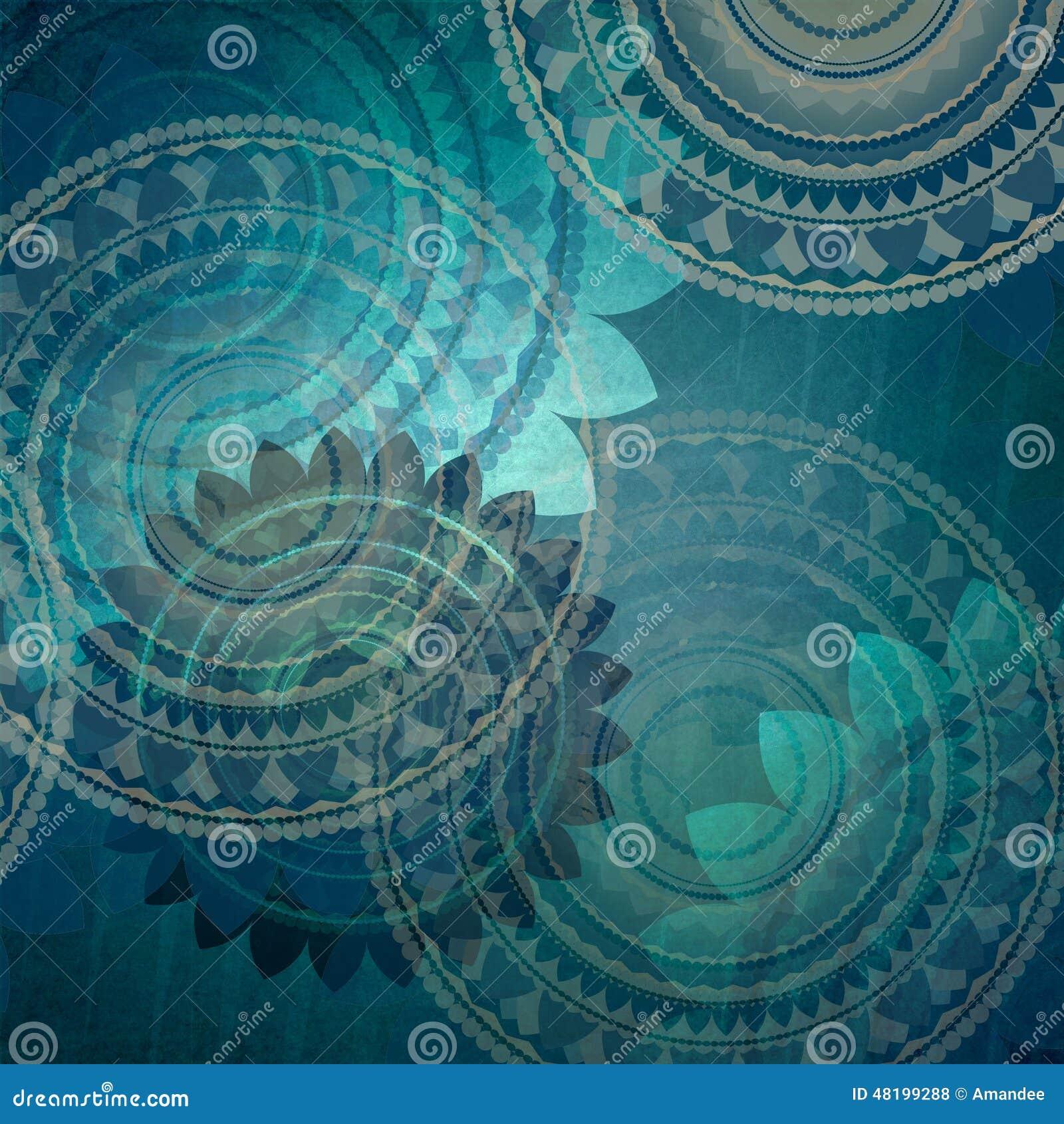 与花梢封印花的典雅的蓝色背景设计在抽象任意样式塑造