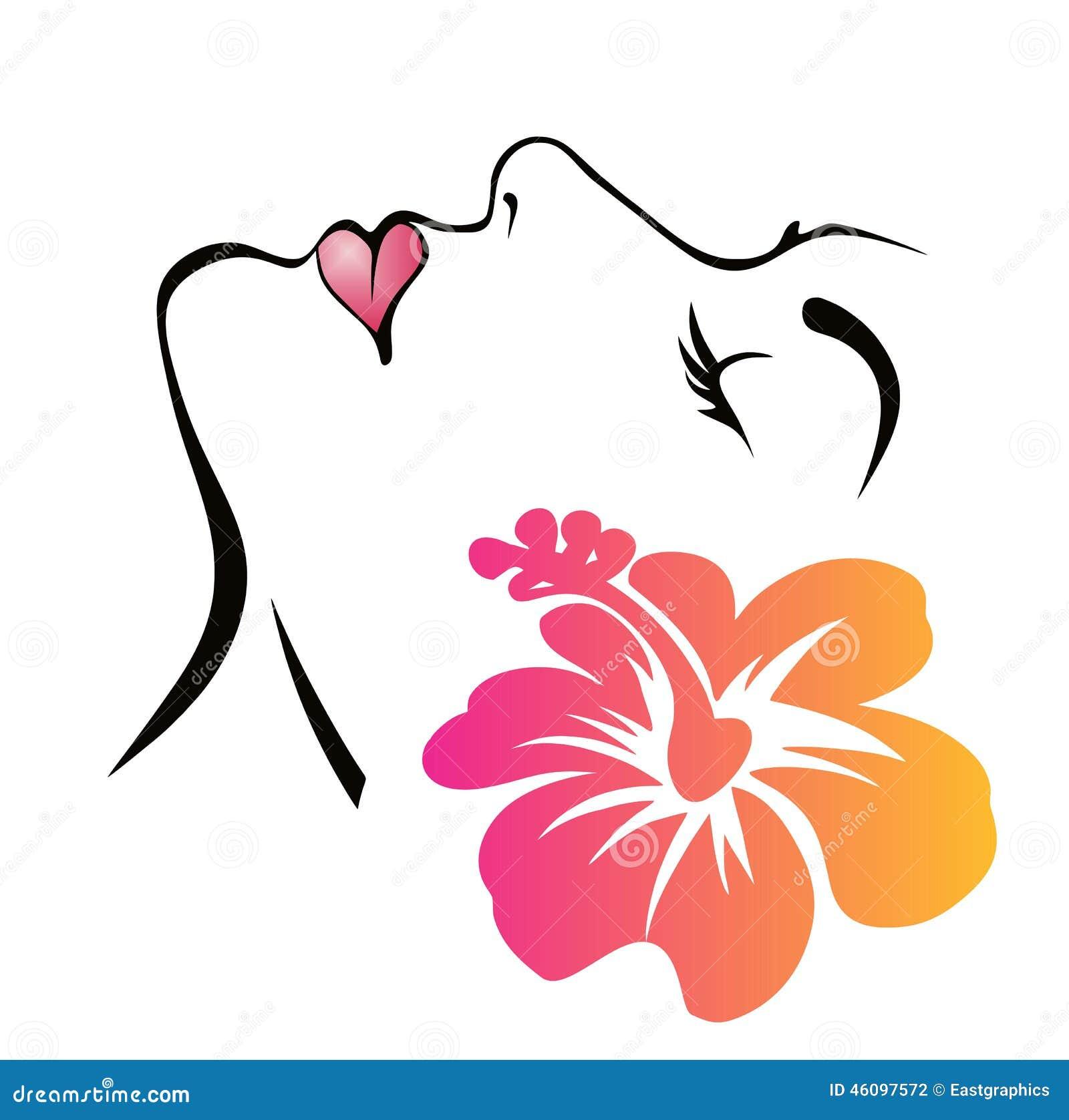 与花的妇女表面