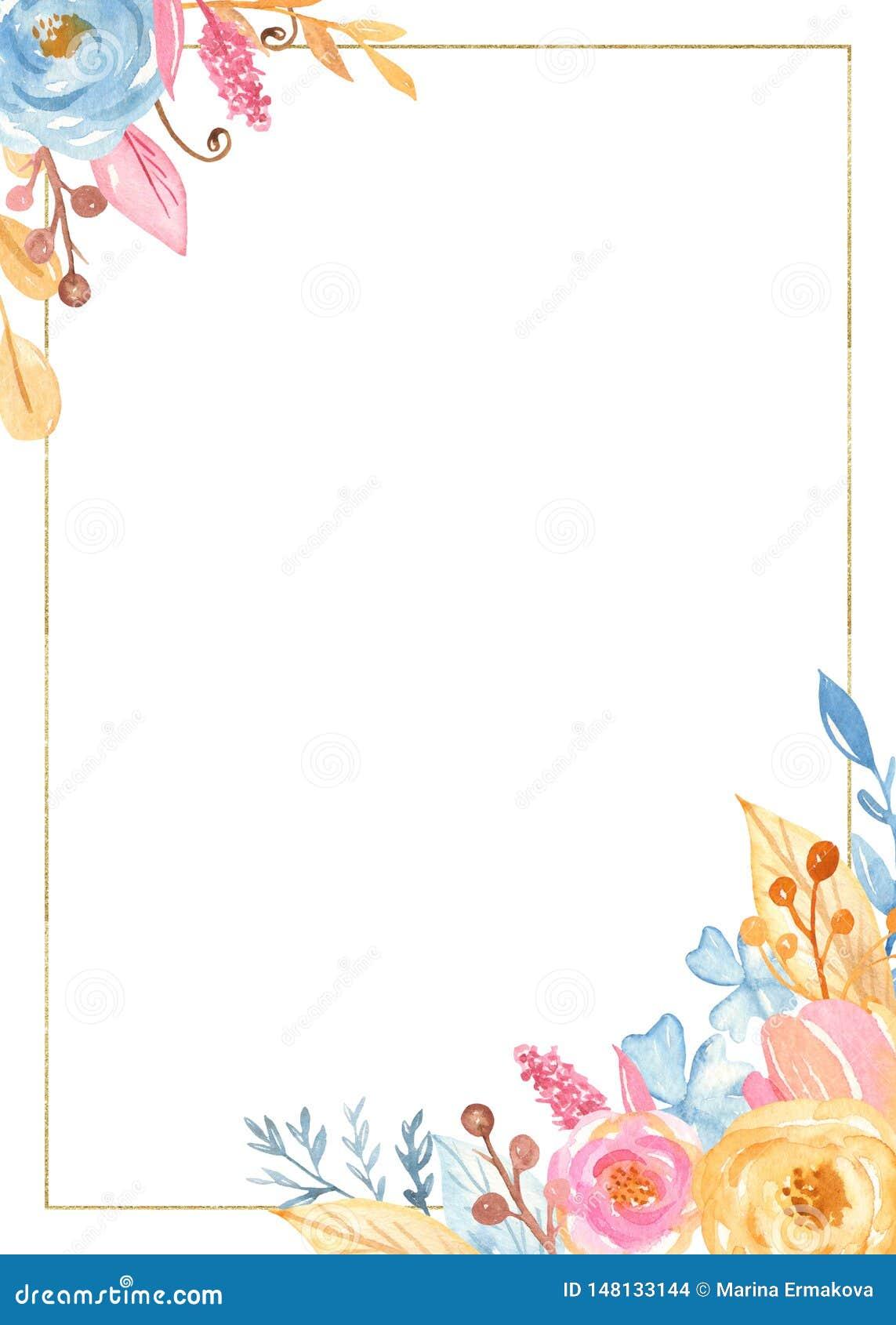 与花的水彩长方形金黄框架 浪漫独角兽收藏