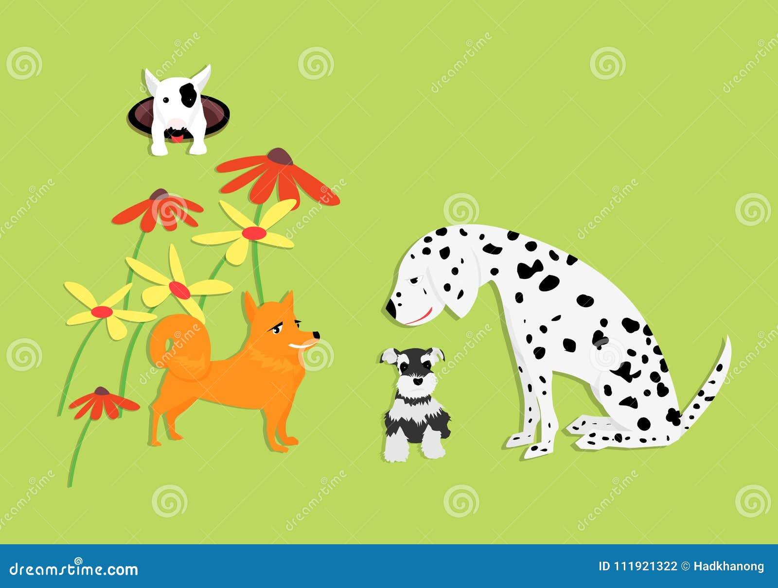 与花的滑稽和逗人喜爱的狗在绿色