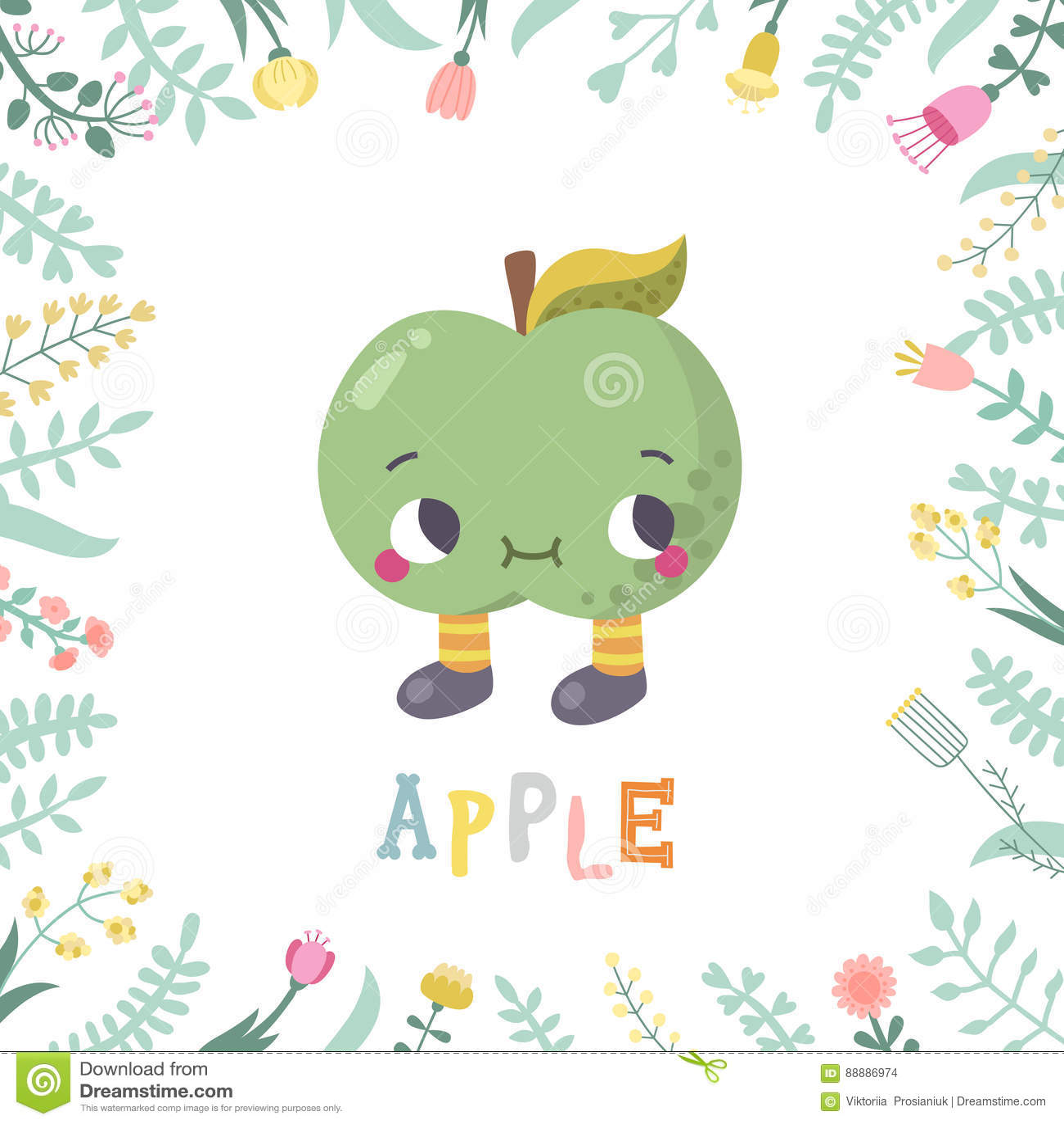 与花的逗人喜爱的动画片苹果例证