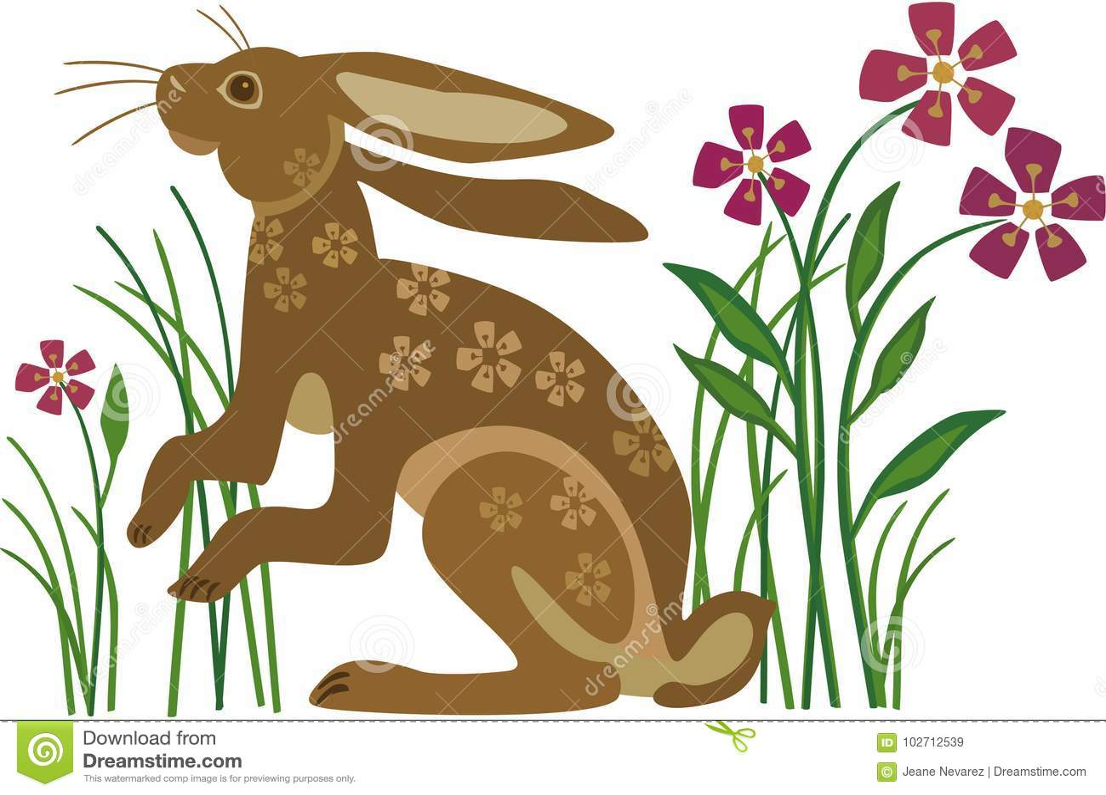 与花纹花样的兔子