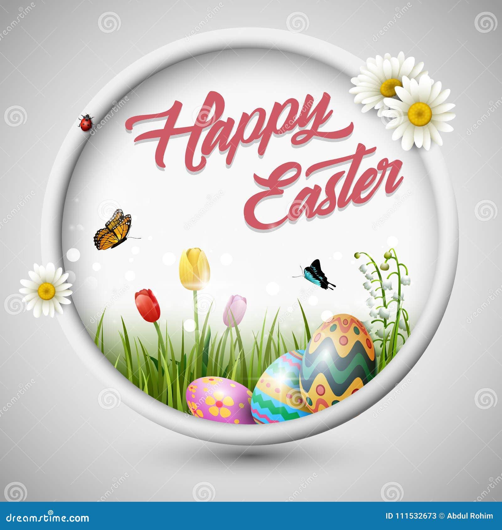 与花郁金香和蝴蝶的愉快的复活节彩蛋在圈子构筑背景