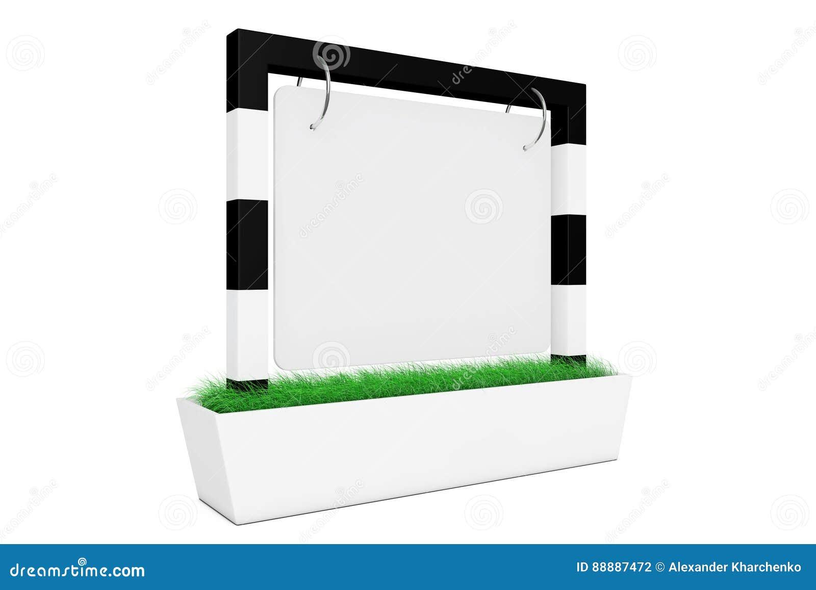 与草的空白的室外横幅书桌显示 3d翻译