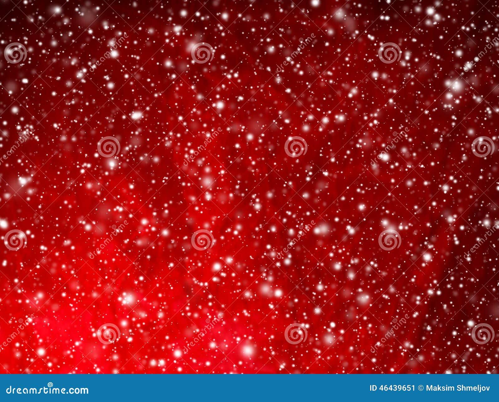 与落的雪的明亮的红色抽象圣诞节背景