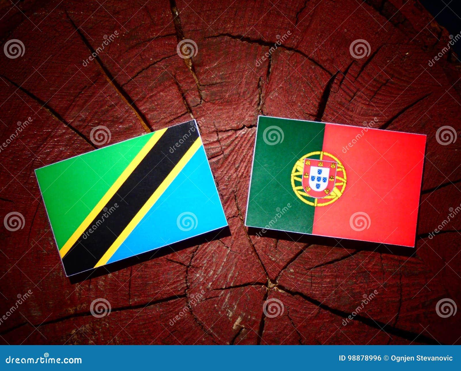 与葡萄牙旗子的坦桑尼亚的旗子在被隔绝的树桩