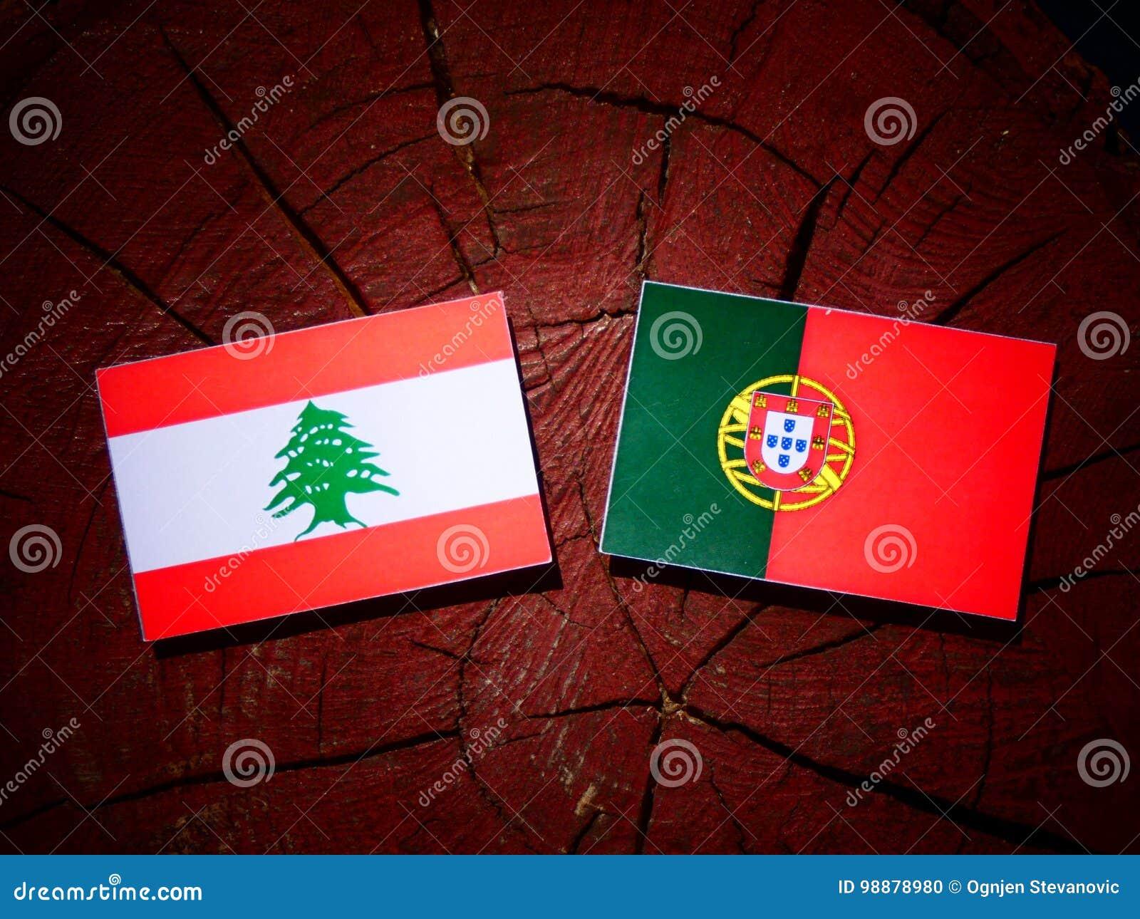 与葡萄牙旗子的黎巴嫩旗子在被隔绝的树桩