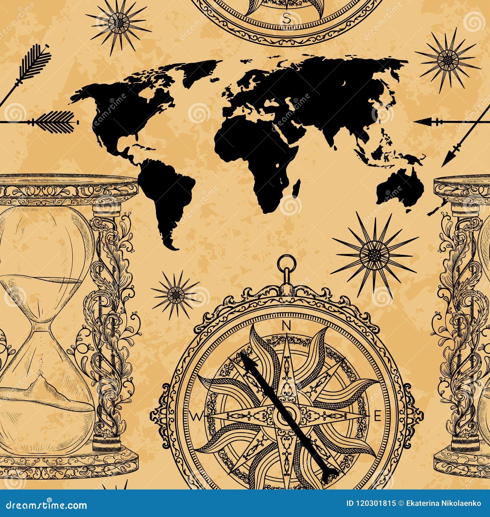 与葡萄酒滴漏、指南针、世界地图和风的无缝的样式上升了