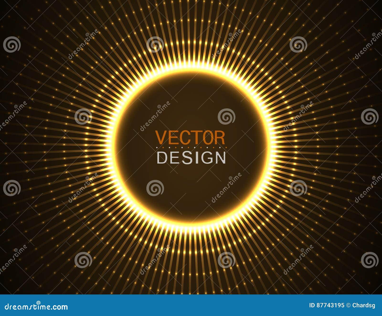 与蓝线的圈子光线影响 抽象背景 向量图形设计
