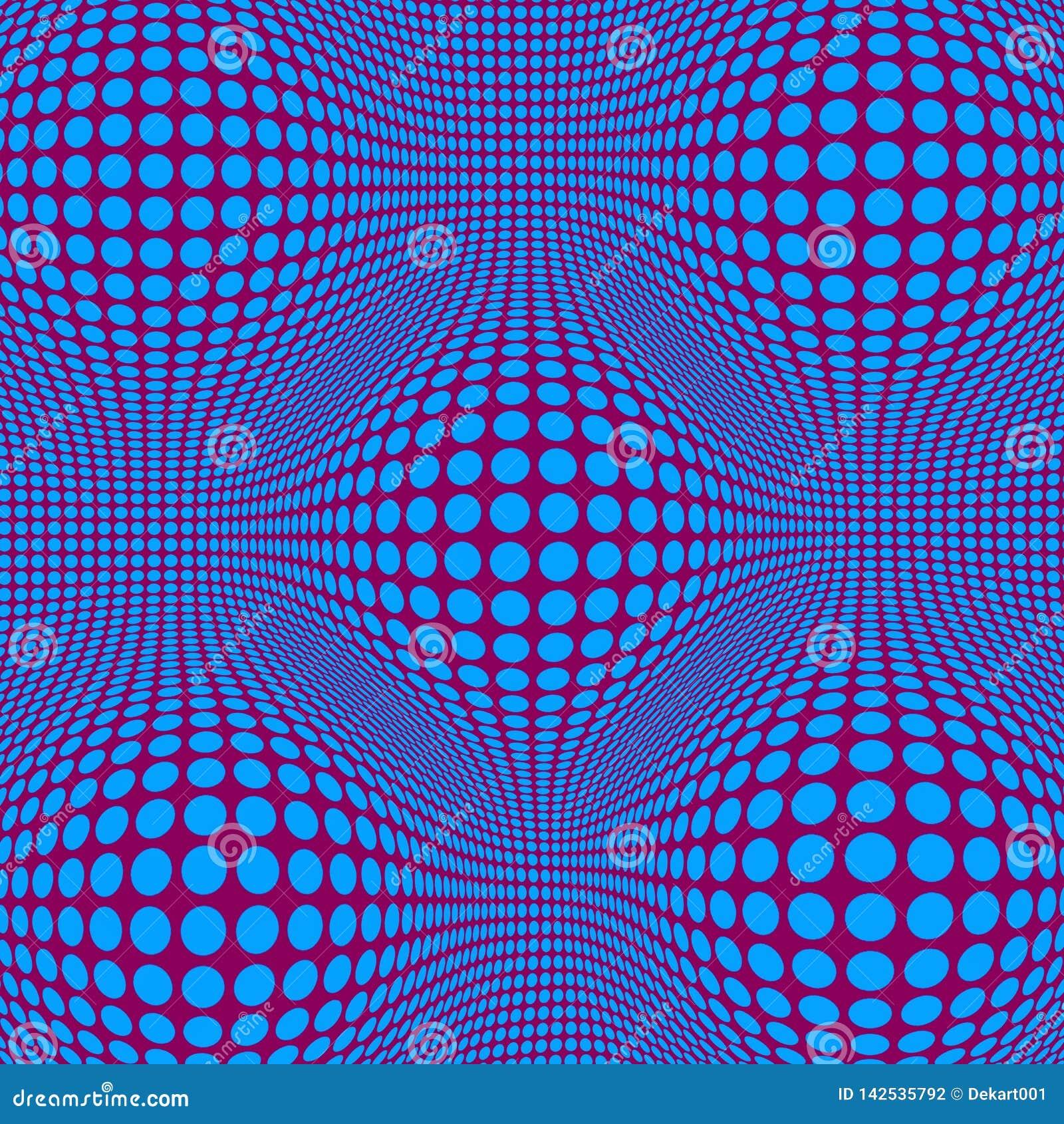 与蓝色小点的抽象错觉欧普艺术