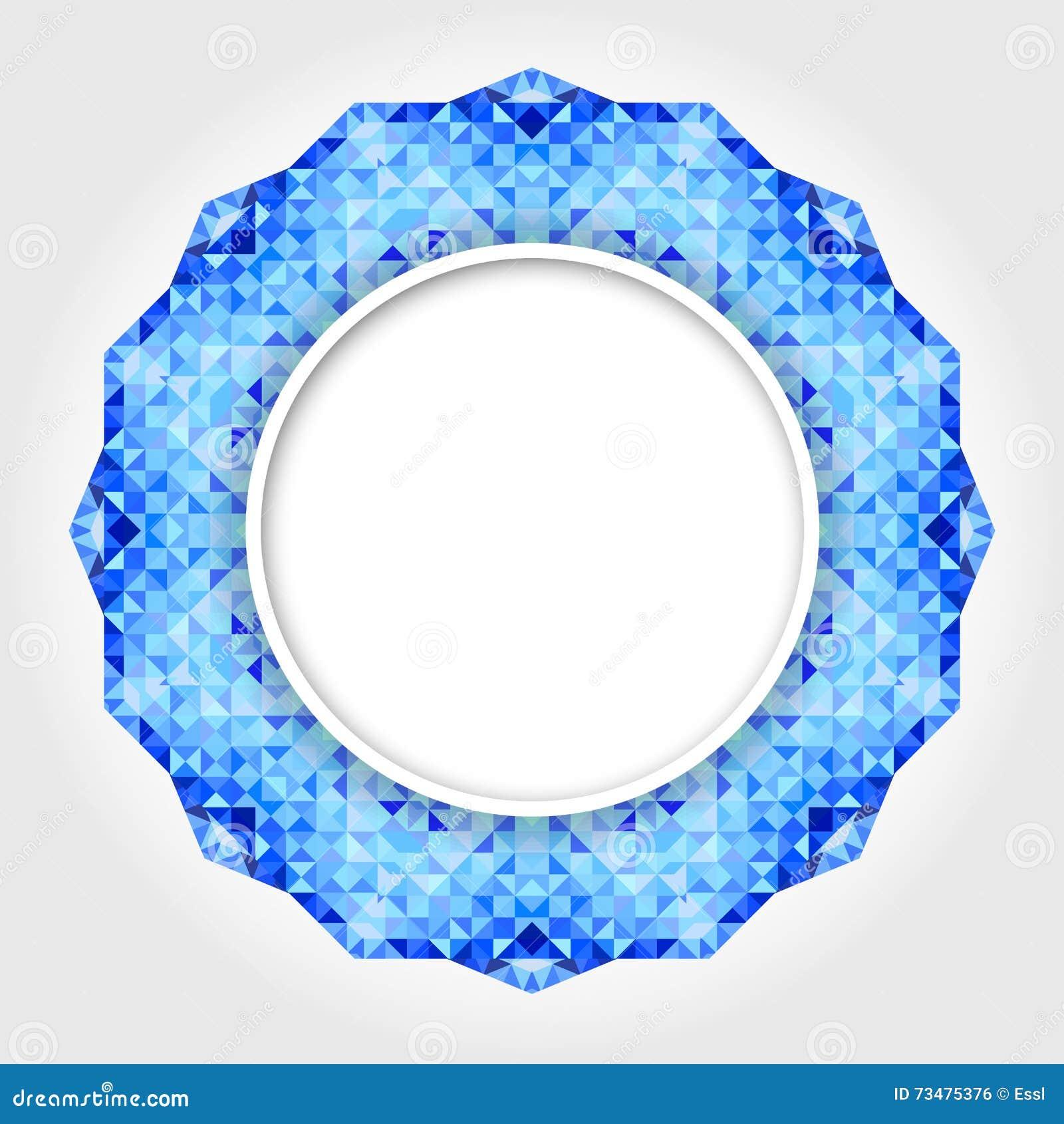 与蓝色数字式边界的抽象白色圆的框架